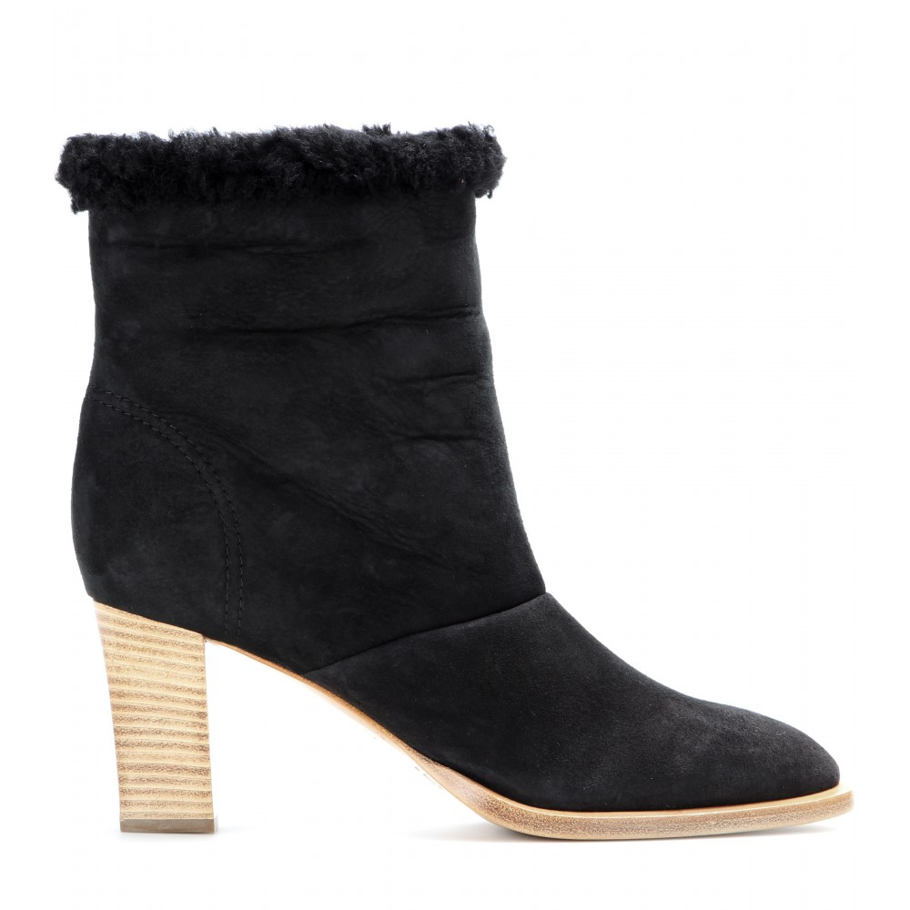 chlo 233 shearling lined suede ankle boots in black lyst