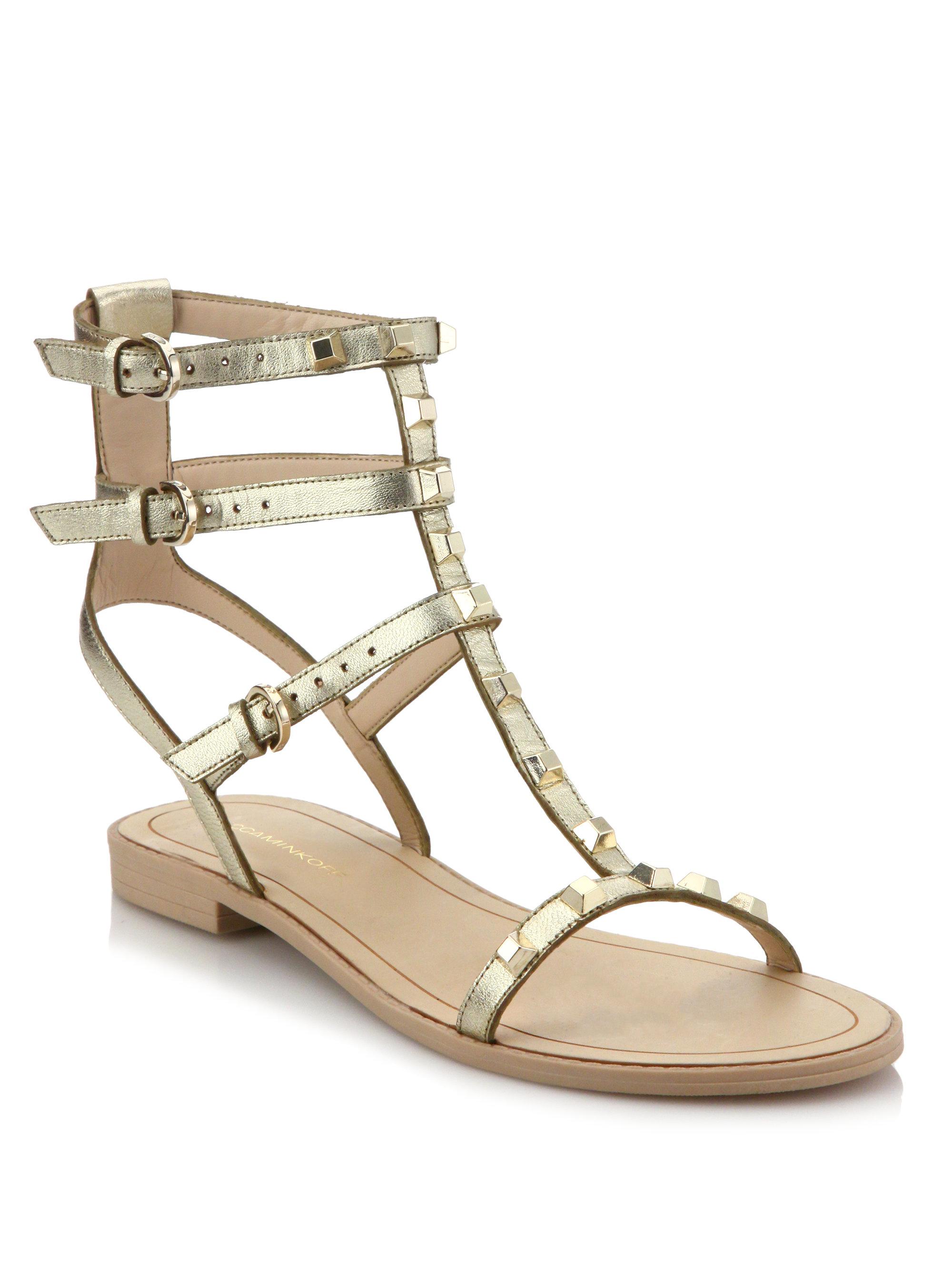 adda99a6492 Lyst - Rebecca Minkoff Georgina Leather Gladiator Sandals in Metallic