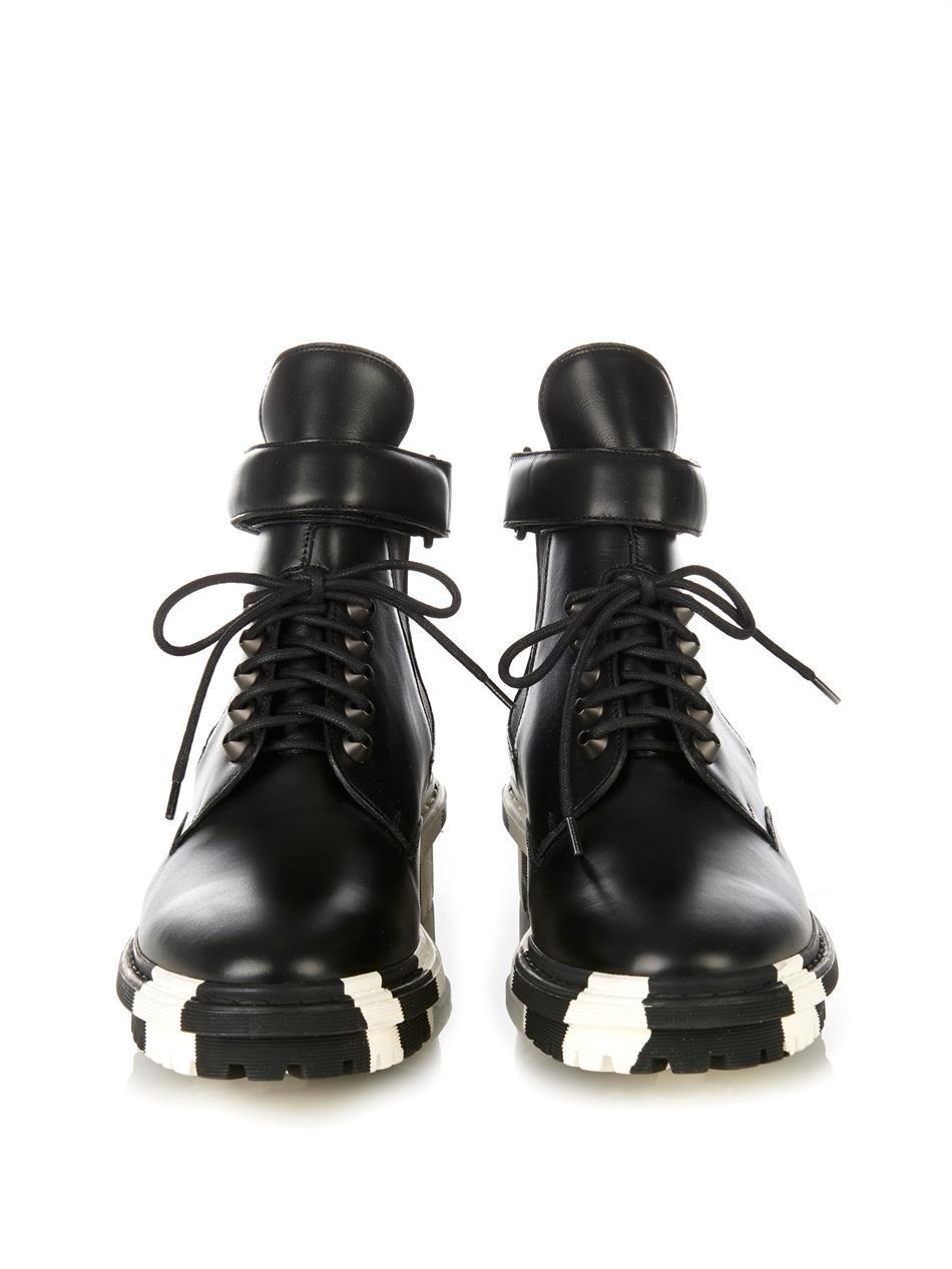 0bdc76c948145 Lyst - Balenciaga Unit Leather Biker Ankle Boot in Black