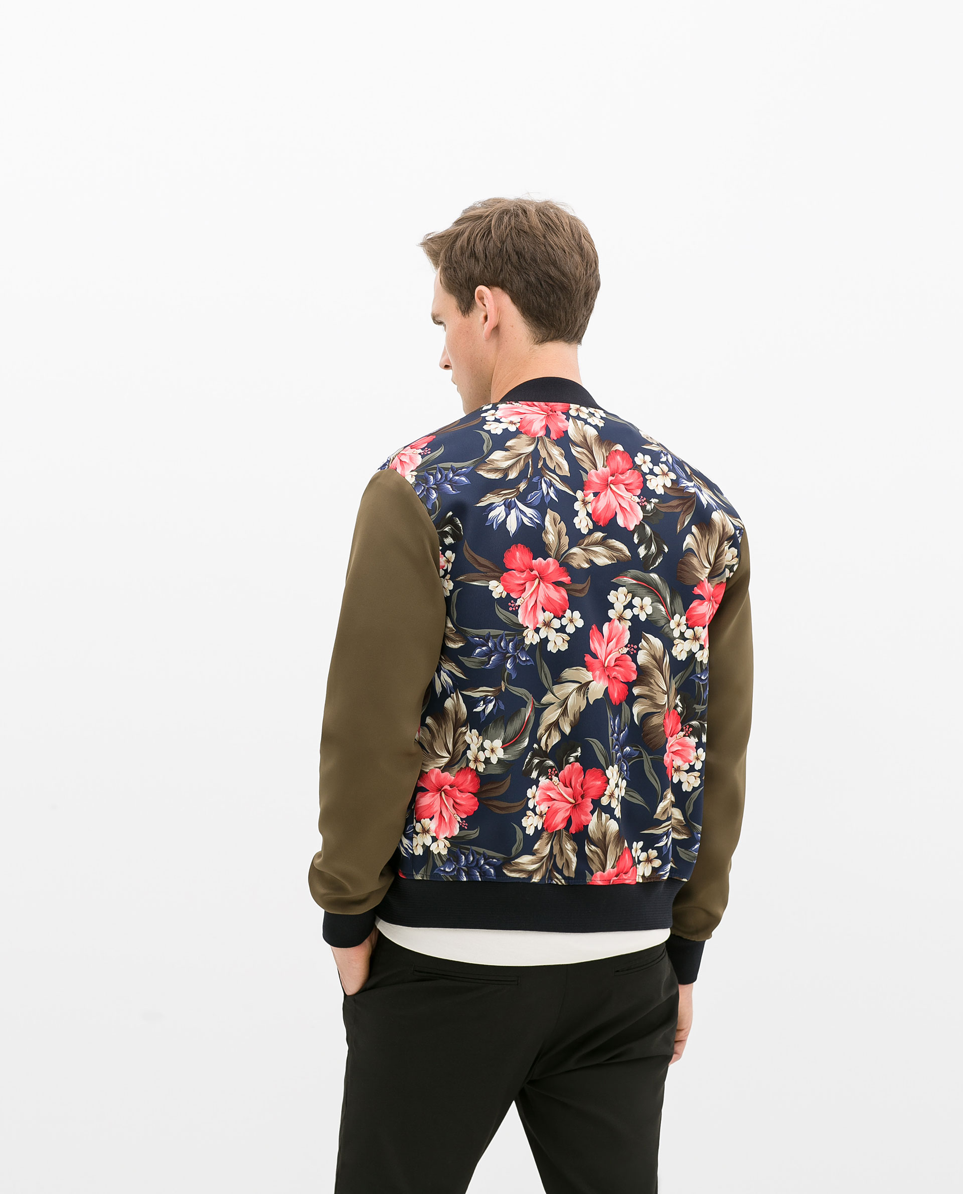 Zara floral jacket in natural for men lyst for Zara mens floral shirt