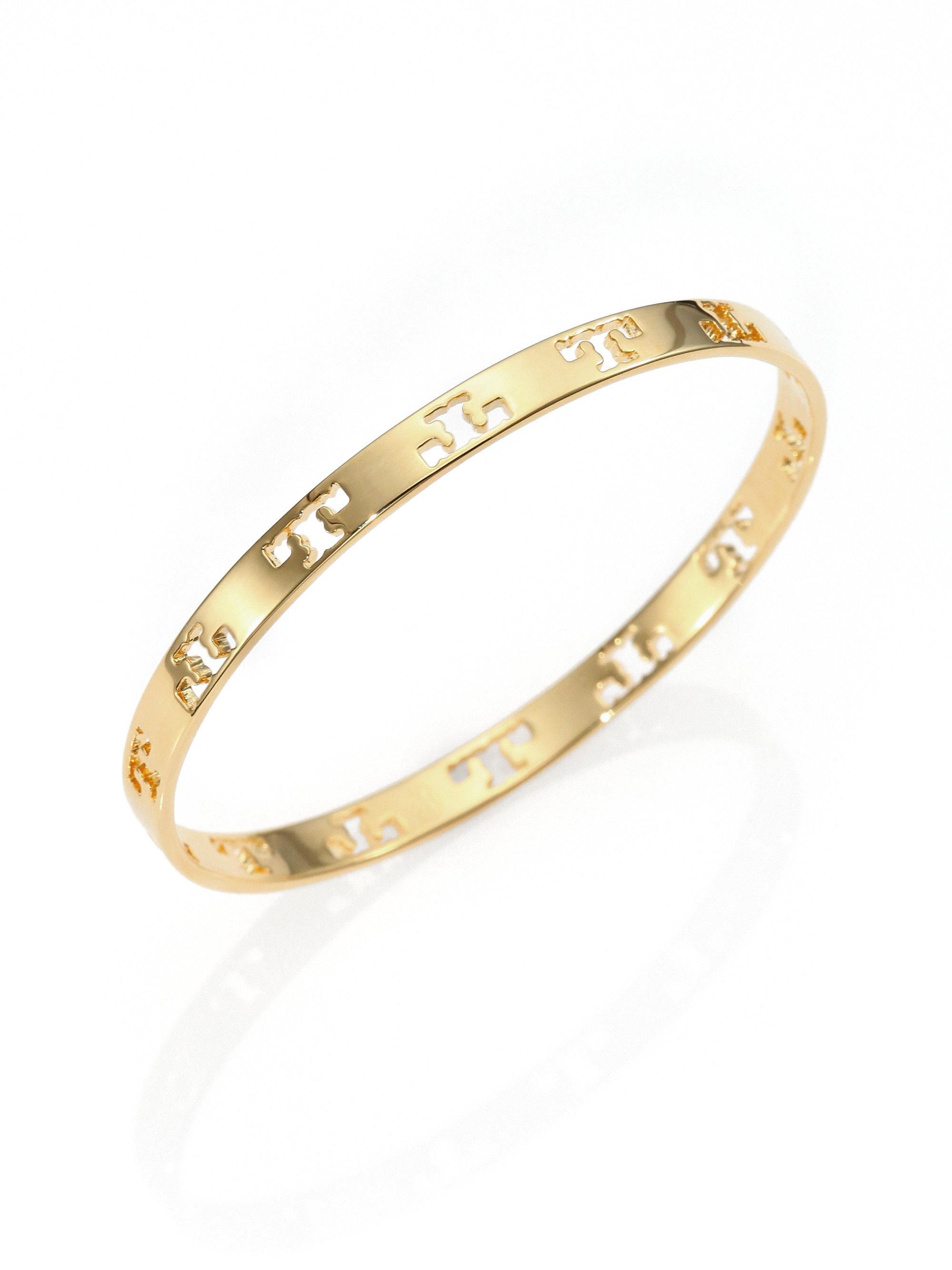 Tory Burch Pierced T Logo Bangle Bracelet In Metallic Lyst