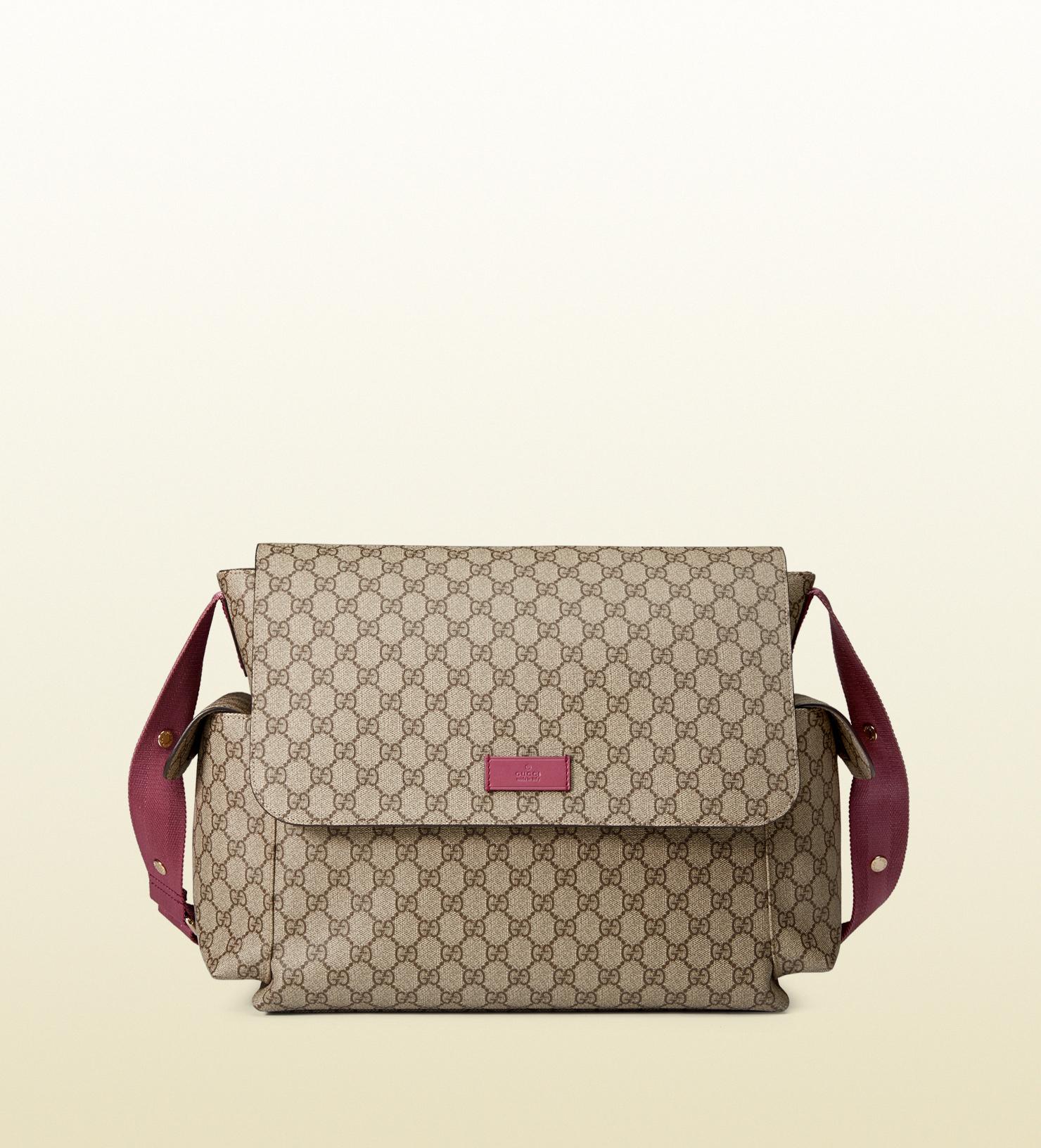 ff9a683f2ea1 Gucci Gg Supreme Canvas Diaper Bag in Pink - Lyst