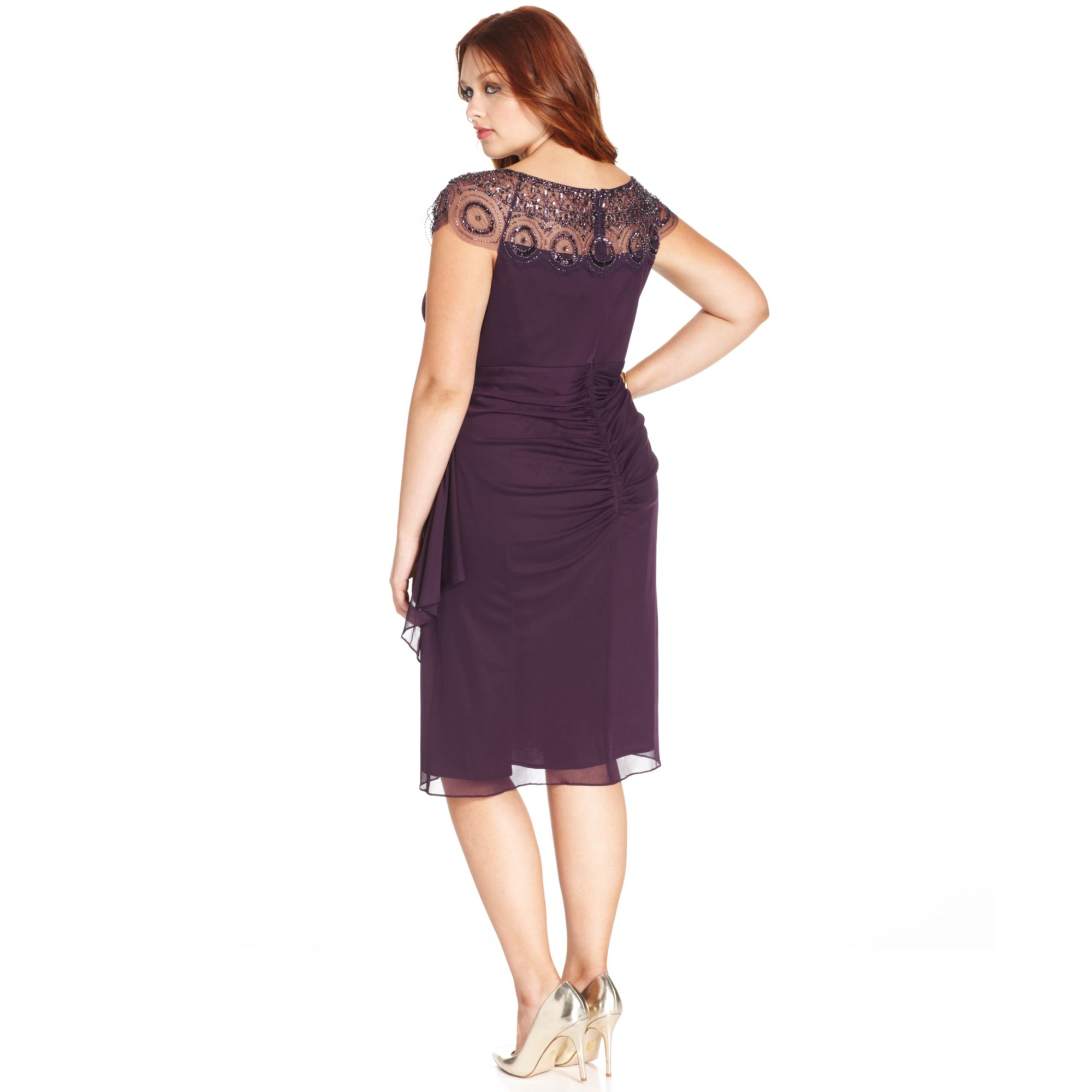 Lyst Xscape Plus Size Capsleeve Illusion Beaded Dress In Purple