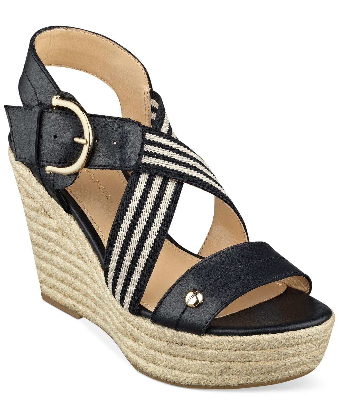 tommy hilfiger women 39 s ignacia platform wedge sandals in black lyst. Black Bedroom Furniture Sets. Home Design Ideas