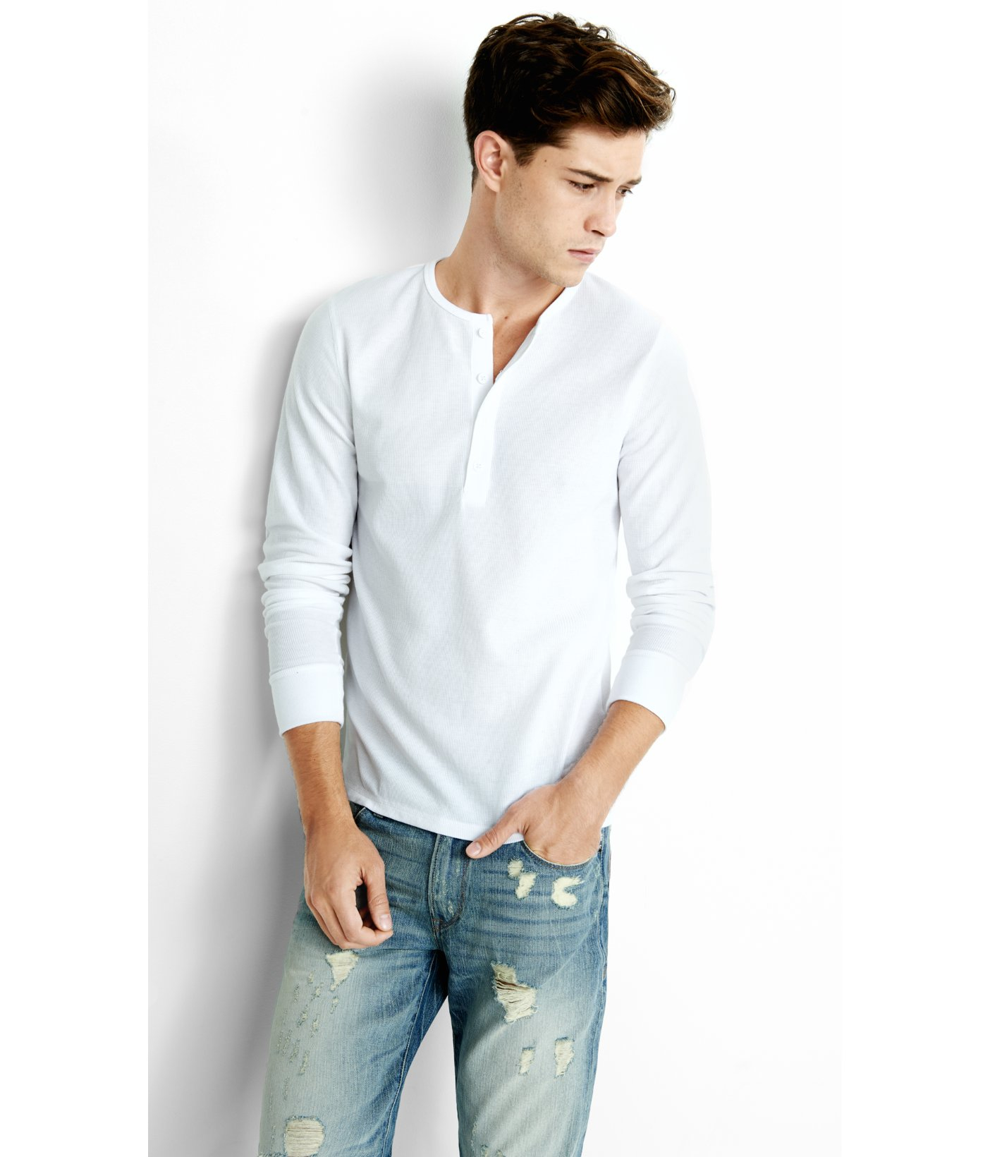 37beb62bbb38 Lyst - Express Long Sleeve Waffle Knit Henley T-shirt in White for Men