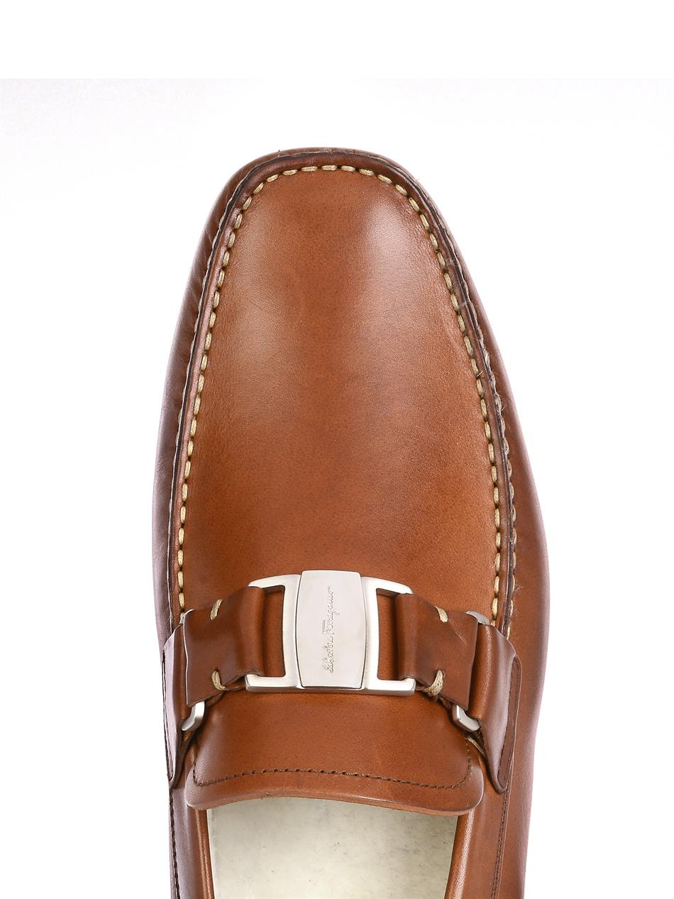 Ferragamo Leather Driving Shoes in Brown for Men