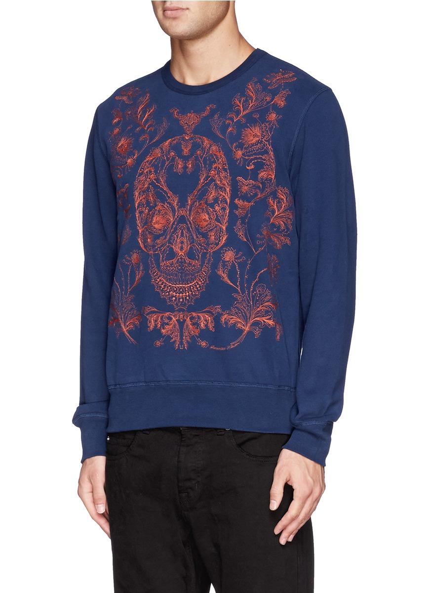 alexander mcqueen hibiscus jacquard sweatshirt in black for men lyst. Black Bedroom Furniture Sets. Home Design Ideas
