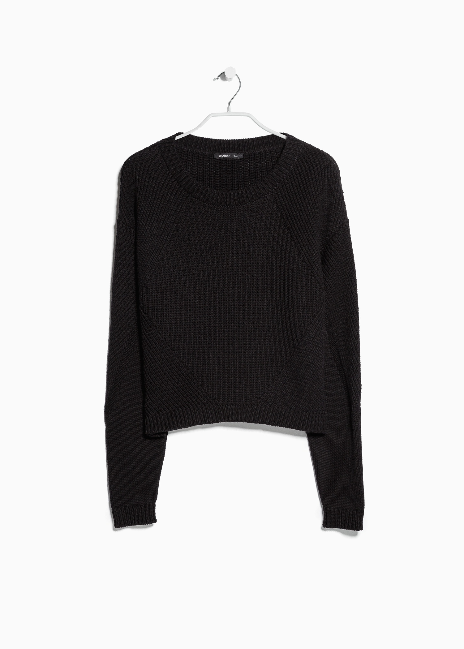 Mango Chunky-Knit Sweater in Black | Lyst