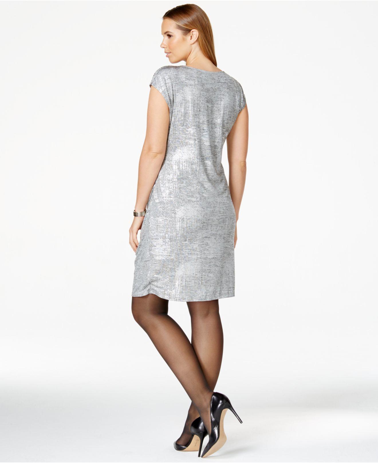 Calvin klein Plus Size Metallic Silver Side-shirred Dress ...
