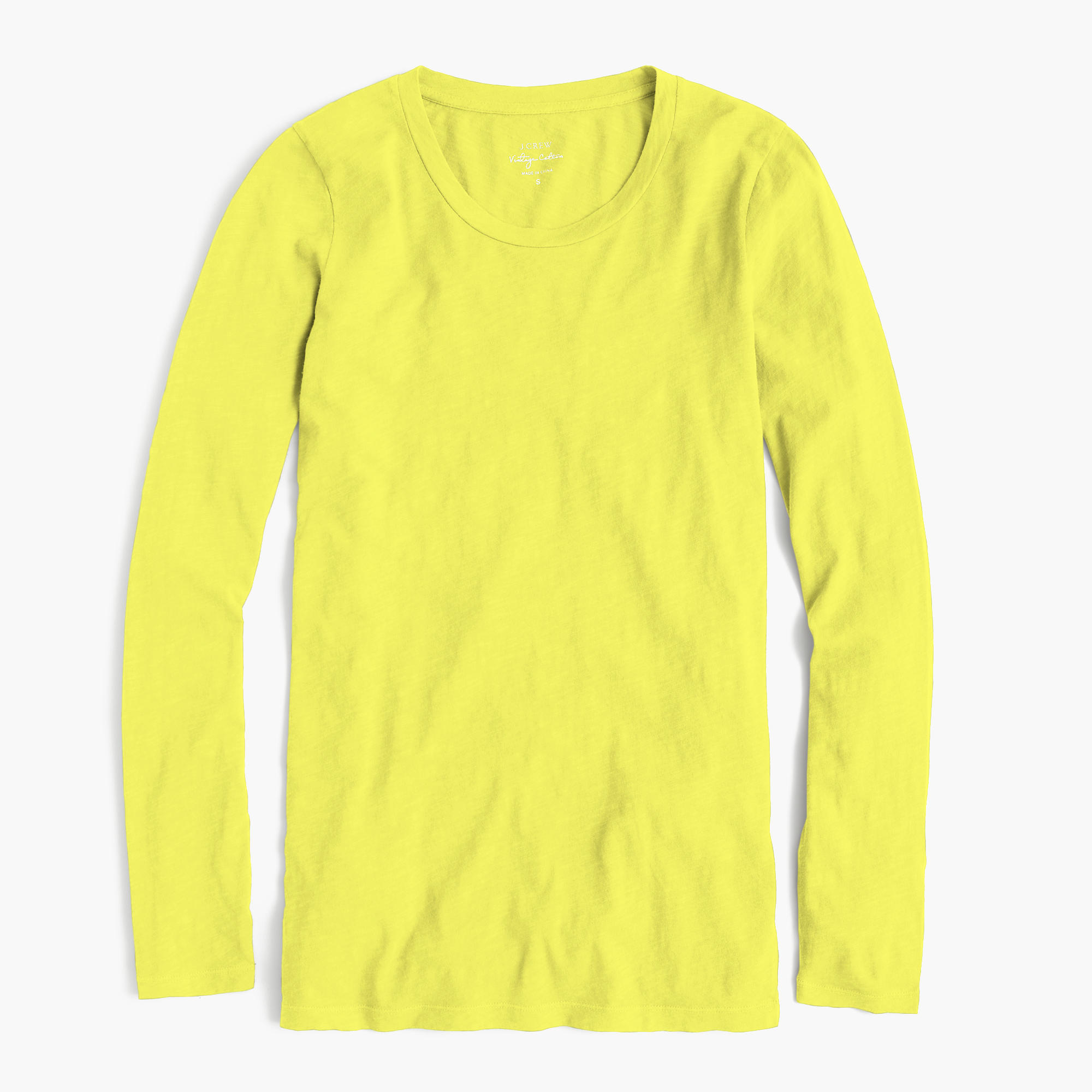 Vintage Cotton Long Sleeve T Shirt In Yellow Neon