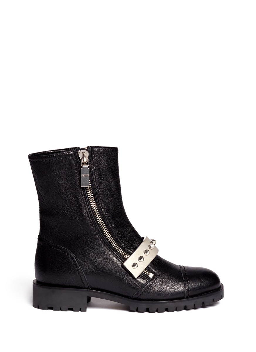 mcqueen studded plate leather biker boots in