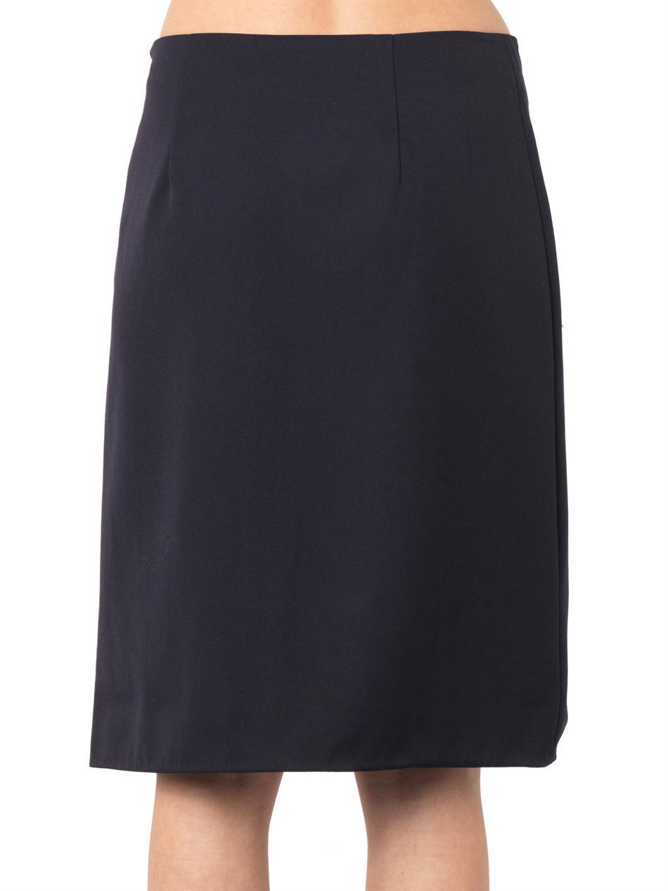 3 1 phillip lim wool gabardine and leather skirt in blue