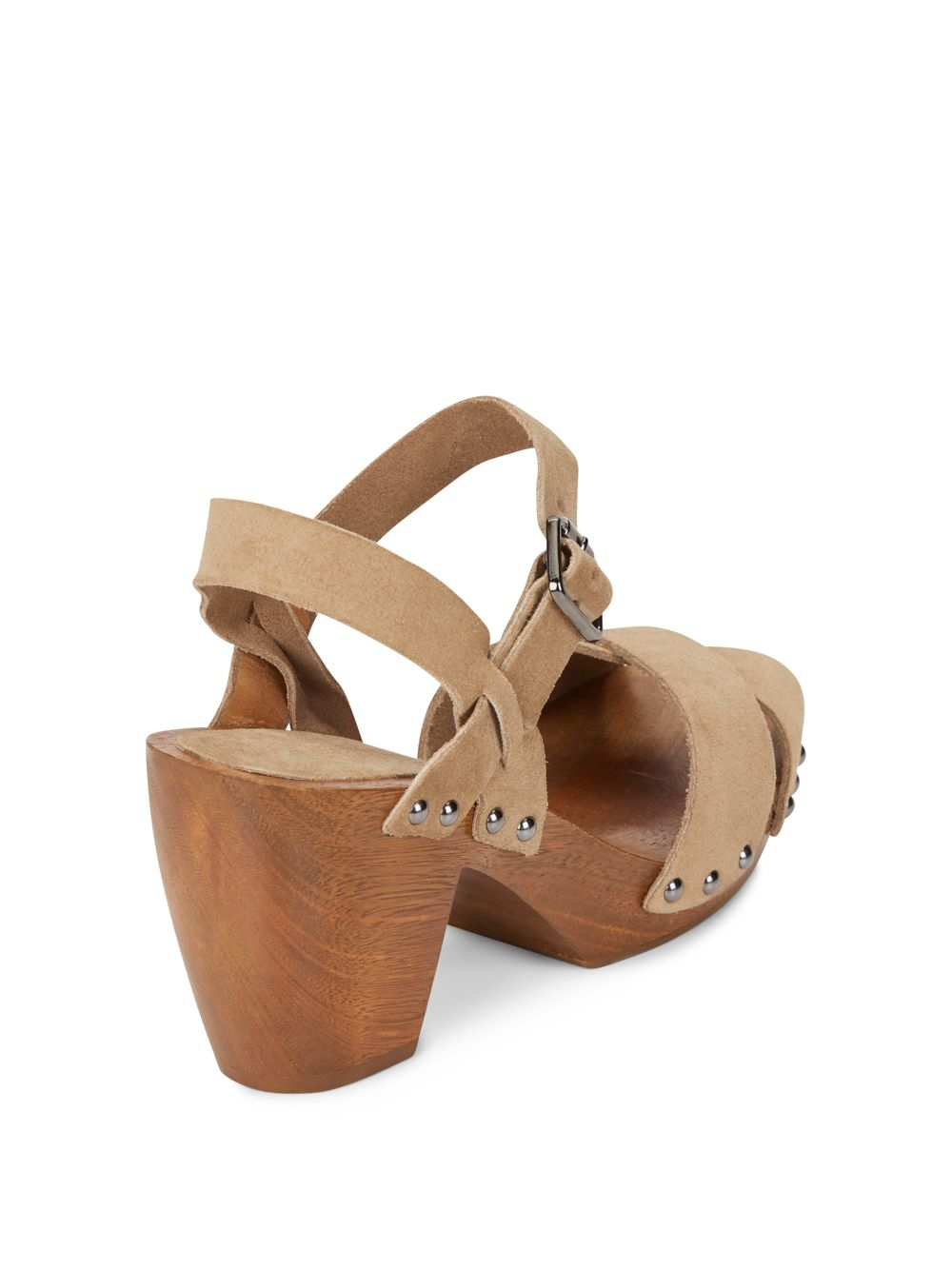 cfb4373e9d40a Lyst - Saks Fifth Avenue Boston Suede   Wood Clog Sandals in Brown