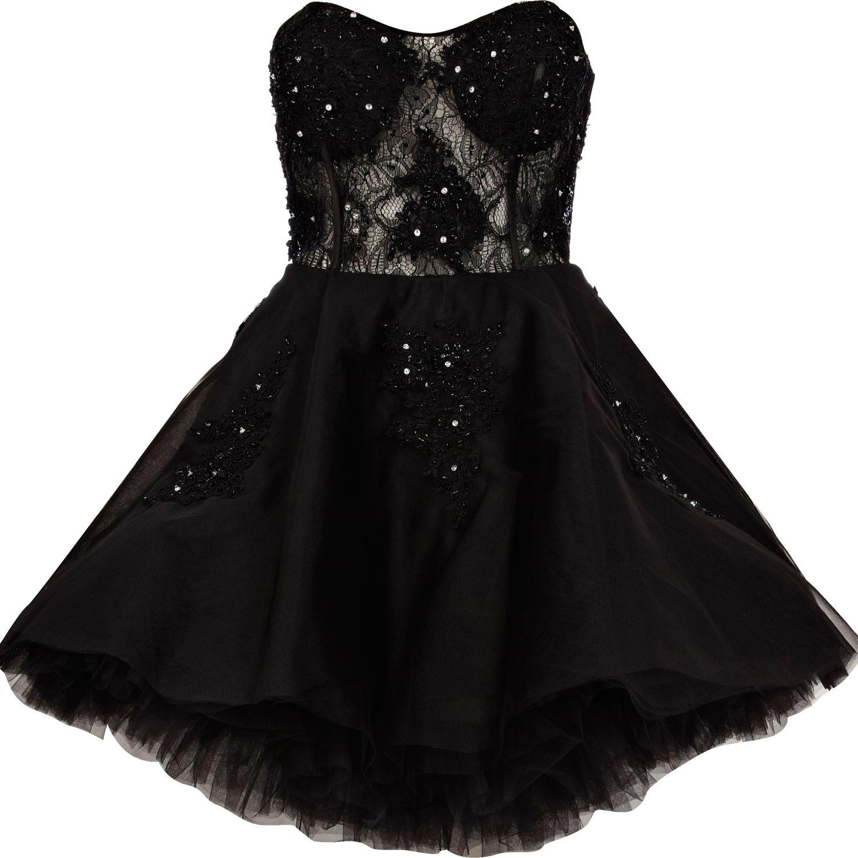 Black Lace Prom Dress River Island 16