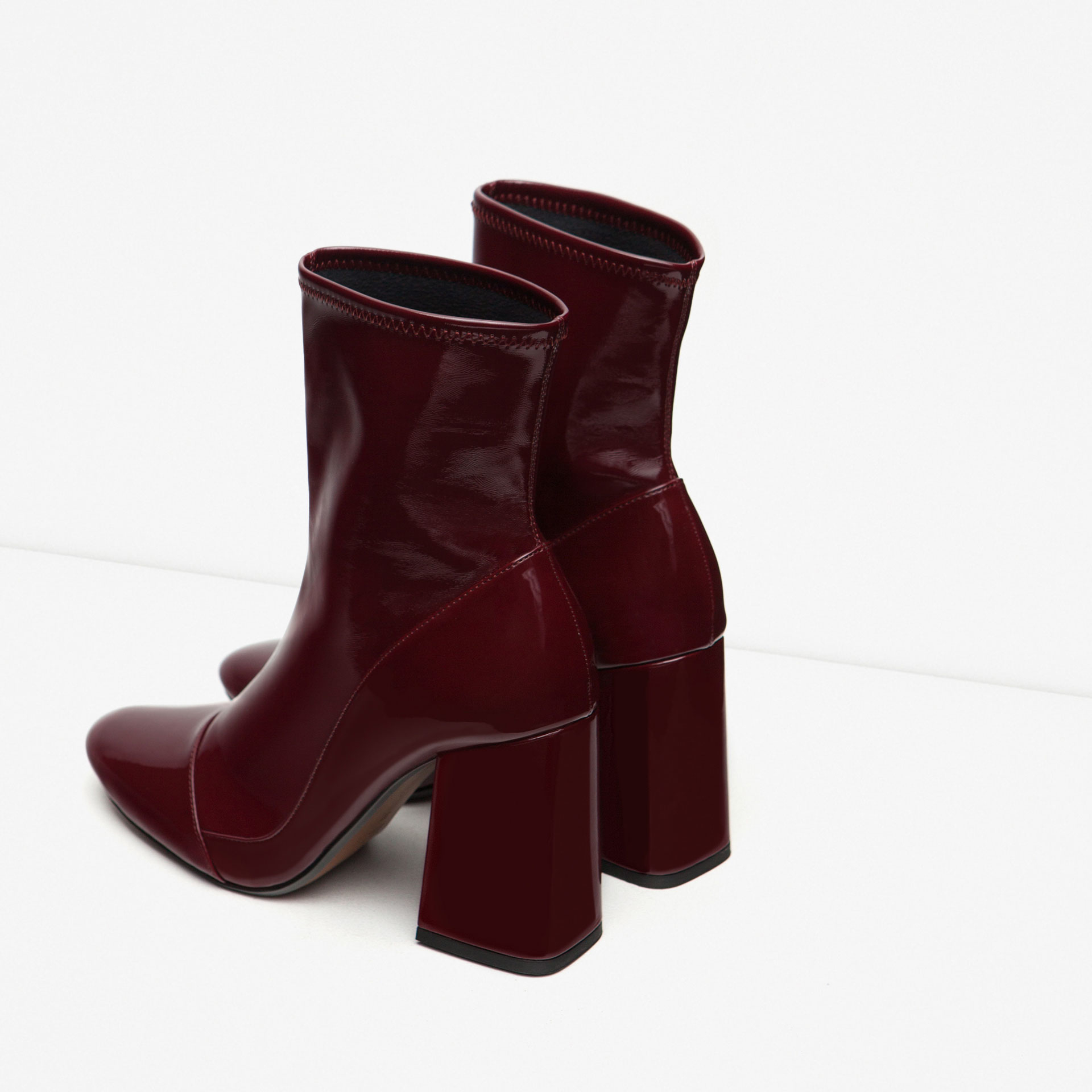 zara high heel sock style ankle boots in purple burgundy