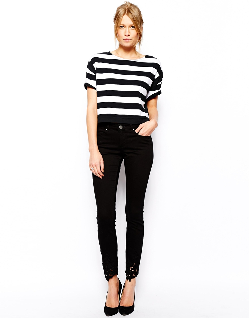 78aa9410bd77 Lyst - ASOS Whitby Low Rise Skinny Jeans In Black With Crochet Hem ...