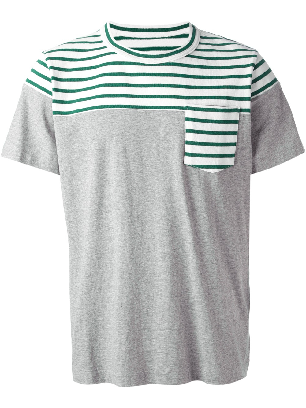 Sacai striped tshirt in gray for men grey lyst Grey striped t shirt