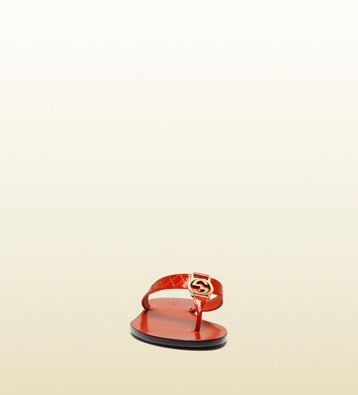 da0701a7569b Lyst - Gucci Gg Thong Patent Leather Sandal in Orange