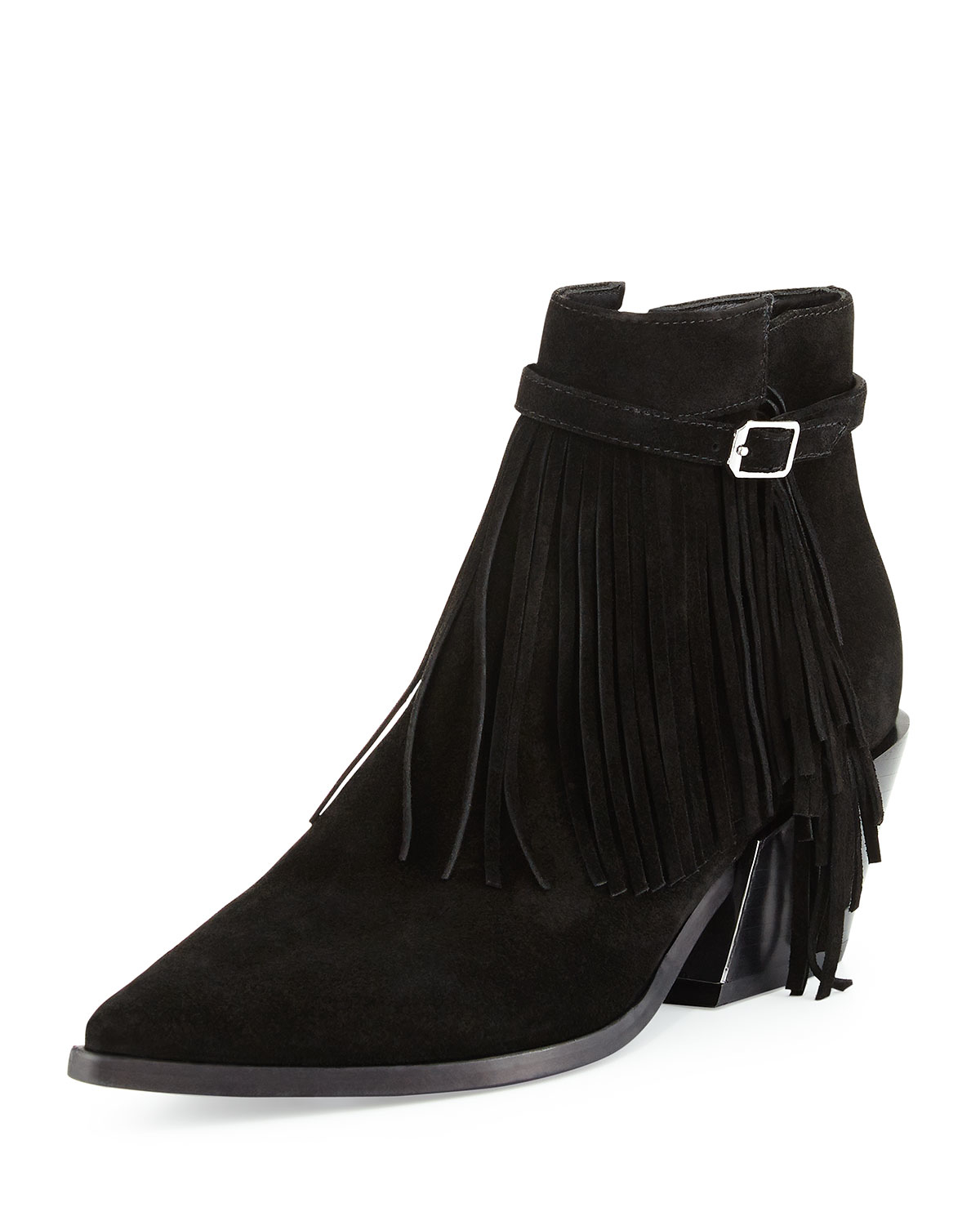 sigerson morrison lena fringed suede ankle boots in black