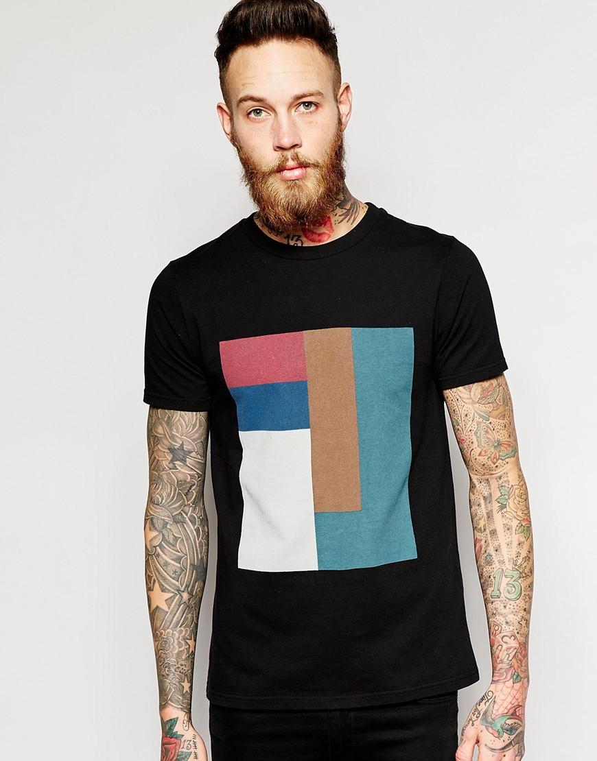 Han Kjobenhavn Han T Shirt With Block Print In Black For