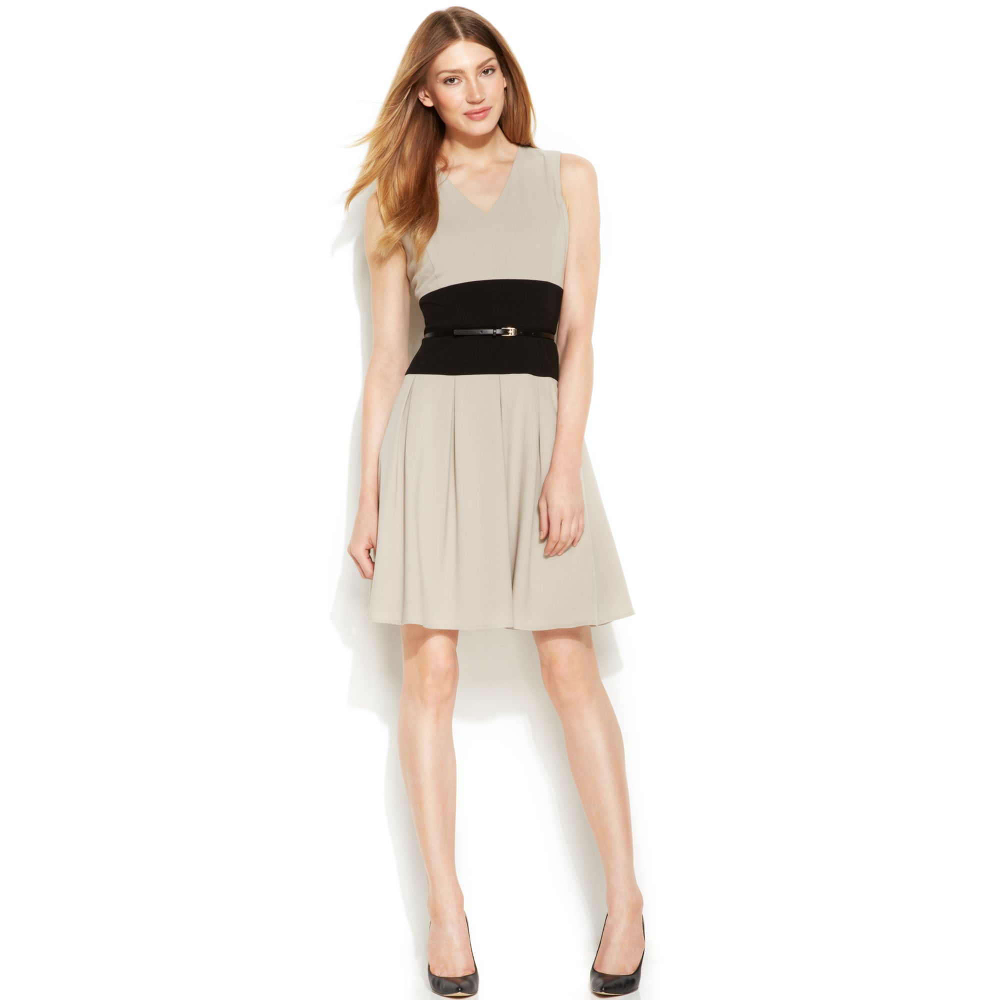 Calvin Klein Sleeveless Colorblock Belted Dress In Beige
