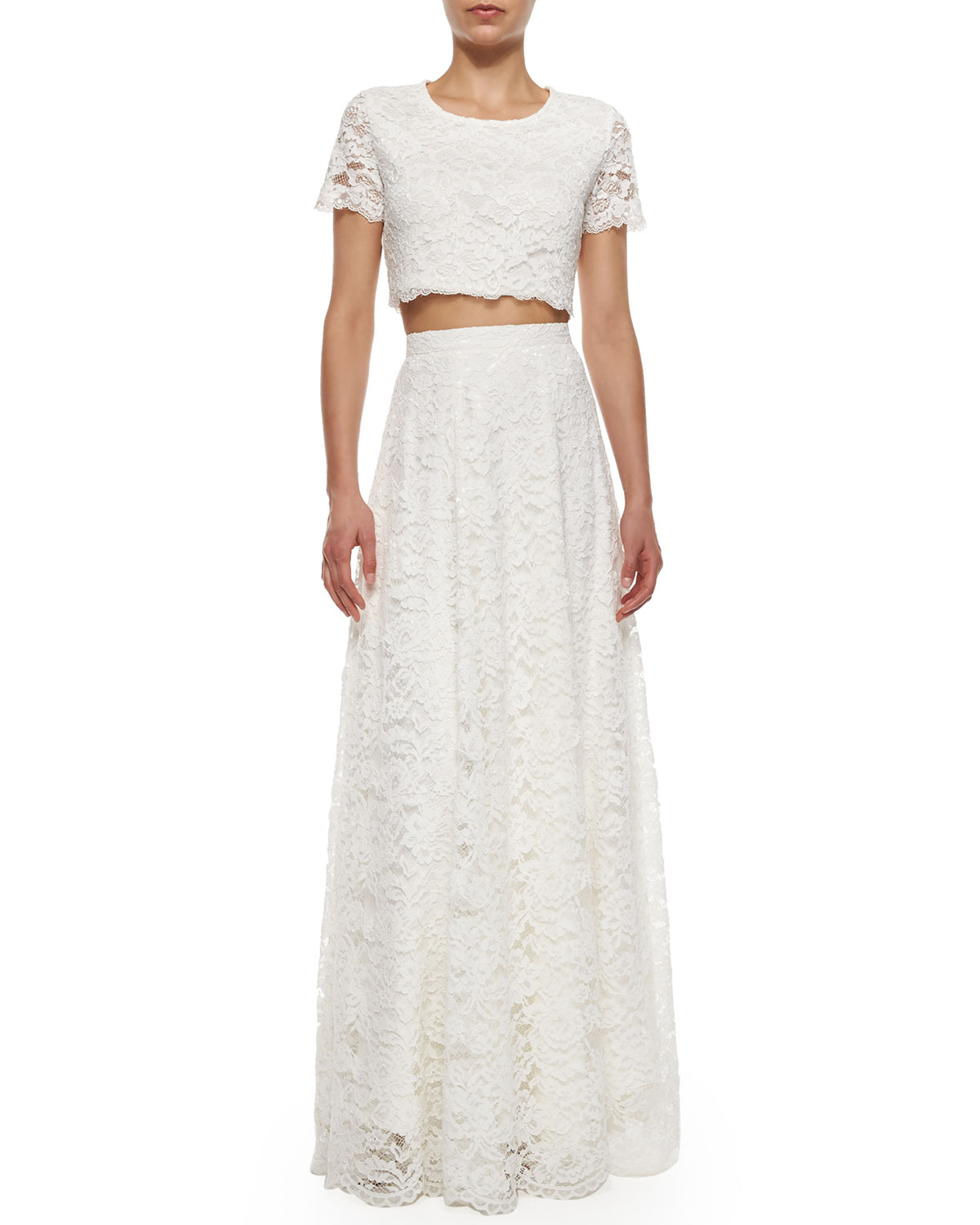 haute hippie high waist rosette lace maxi skirt in white
