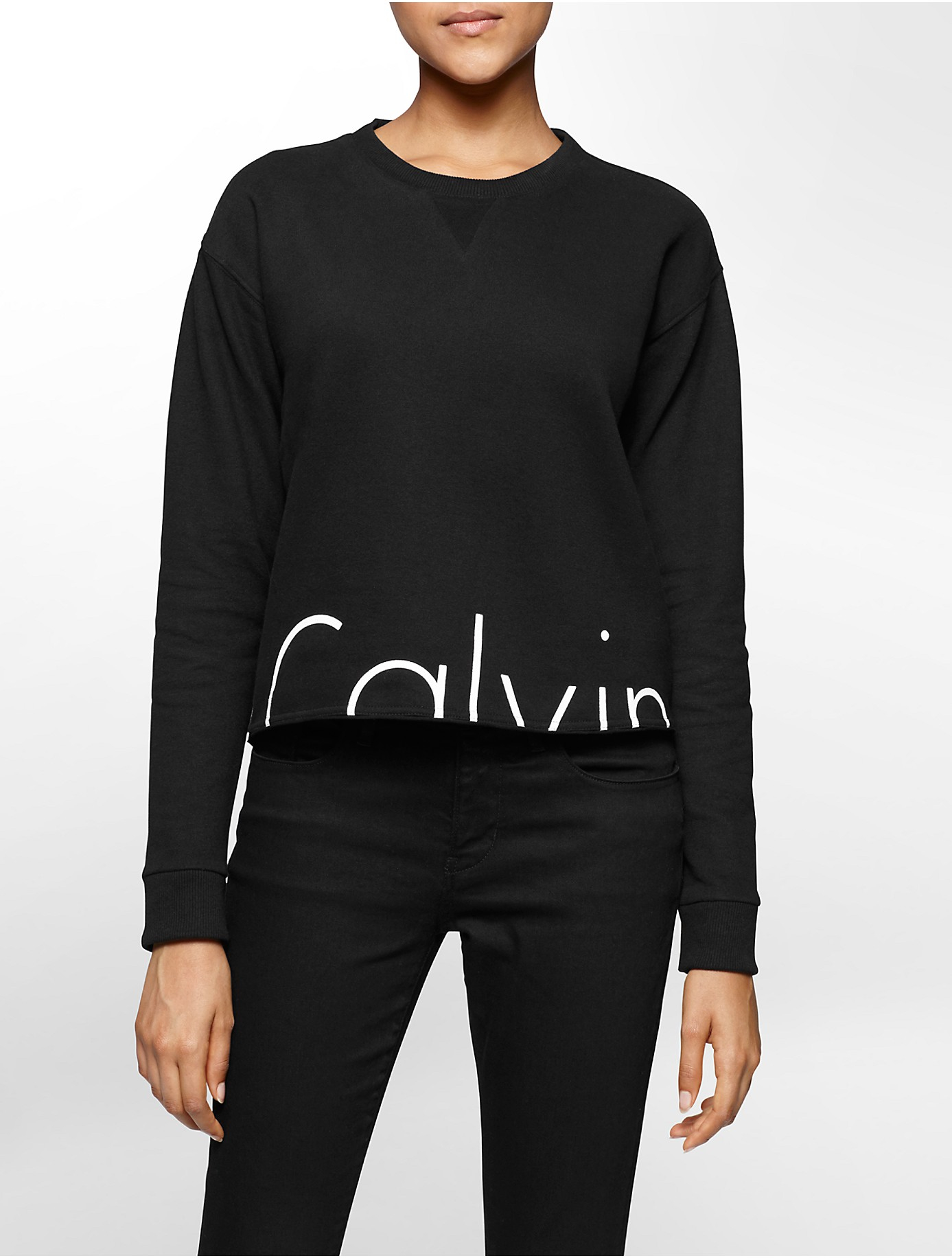 calvin klein jeans cropped logo terry sweatshirt in black. Black Bedroom Furniture Sets. Home Design Ideas