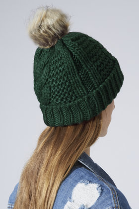 Lyst - TOPSHOP Cable Faux Fur Pom Beanie in Green 1a655845ccb