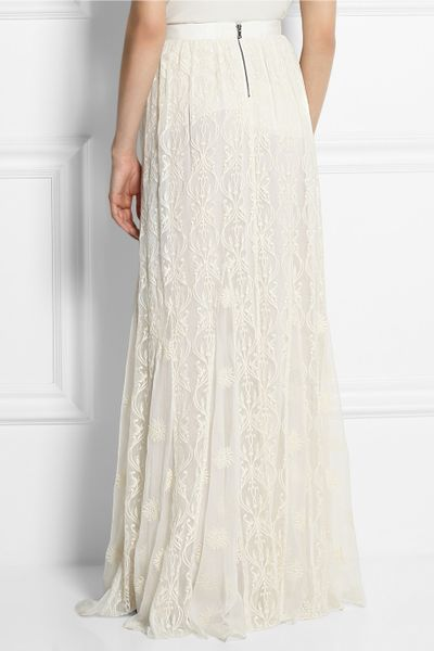 louie embroidered silk tulle maxi skirt in