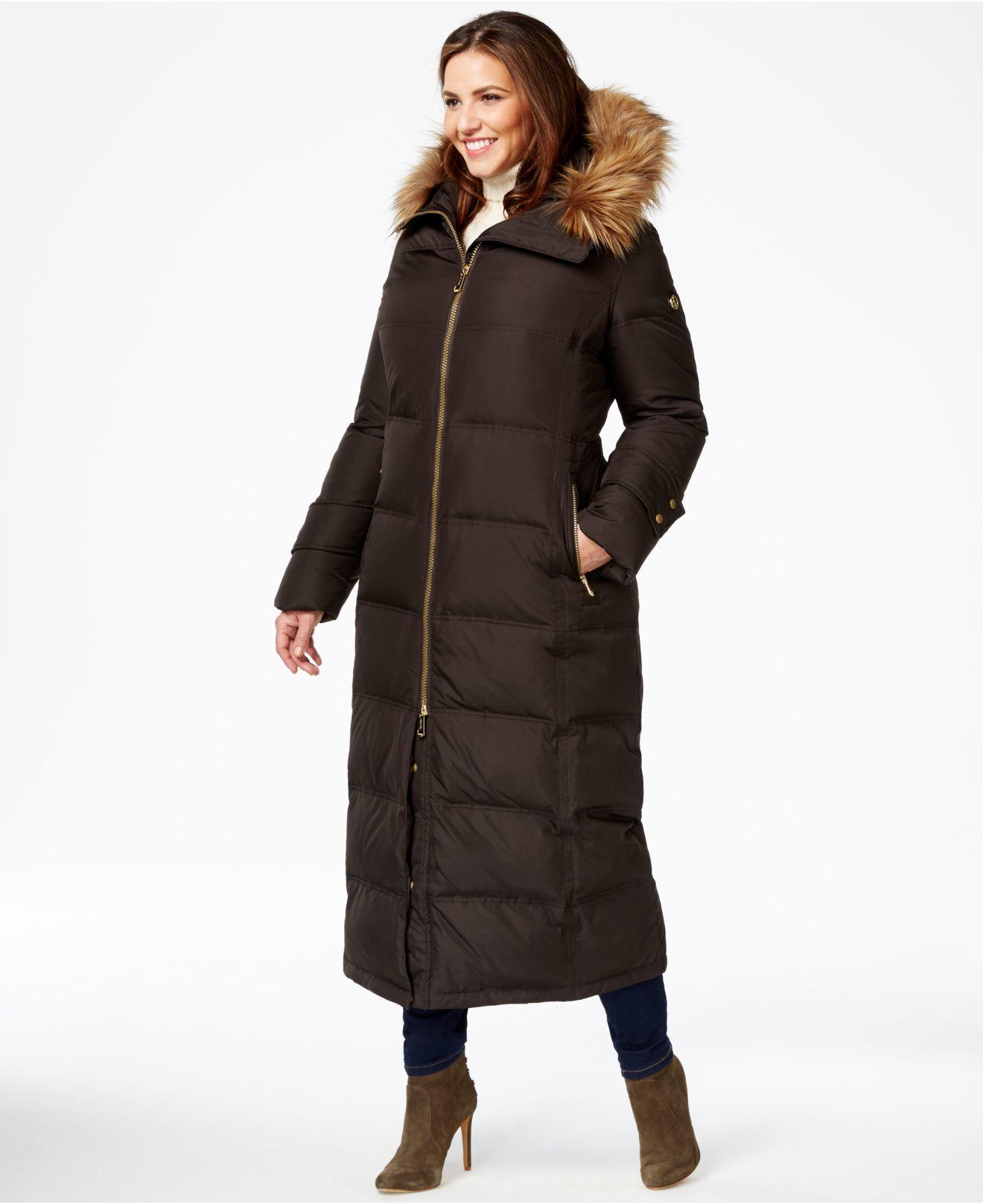 Calvin Klein Plus Size Faux Fur Trim Quilted Maxi Coat In