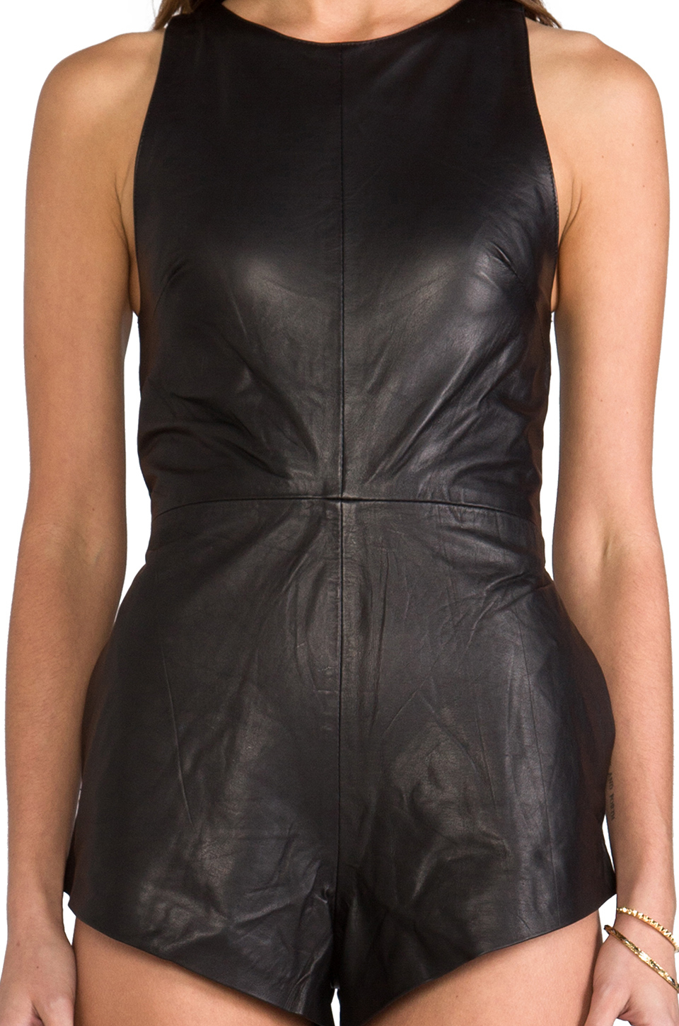 7e72f492203 Lyst - One Teaspoon The Bond Leather Romper in Black in Black
