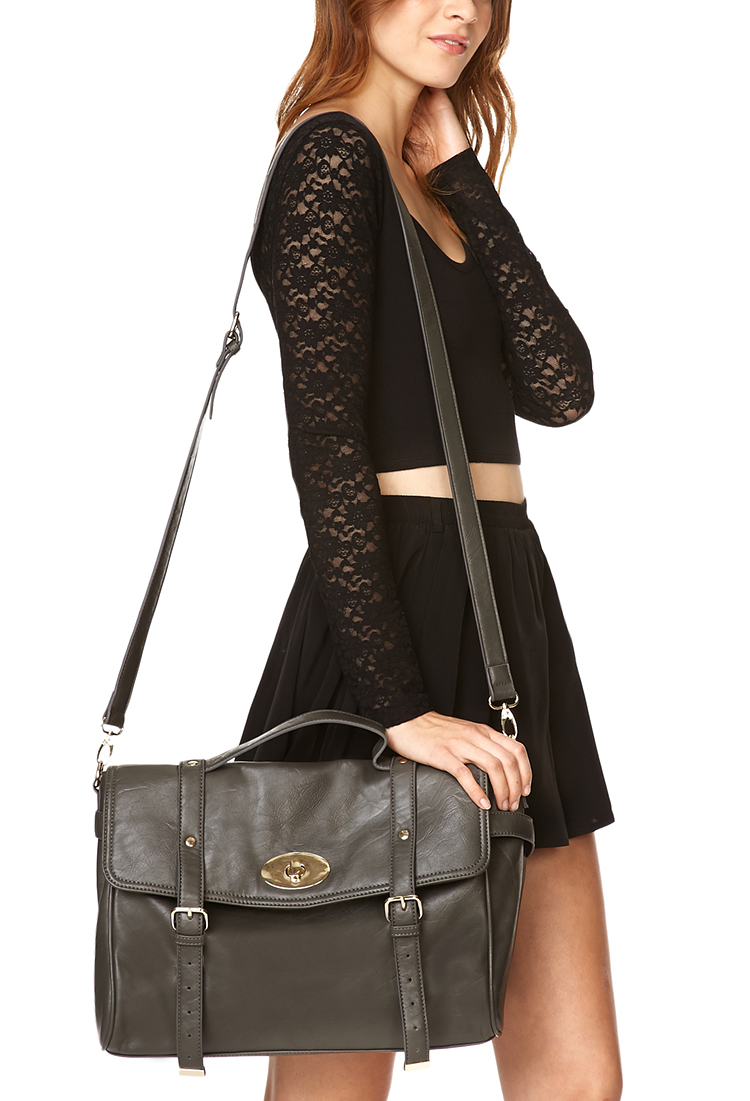 Forever 21 Iconic Faux Leather Messenger Bag in Brown | Lyst