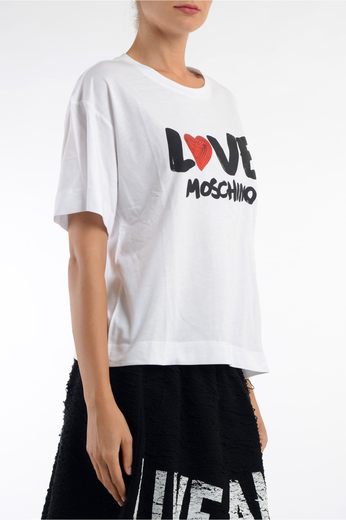 love moschino t shirt with logo in white lyst. Black Bedroom Furniture Sets. Home Design Ideas