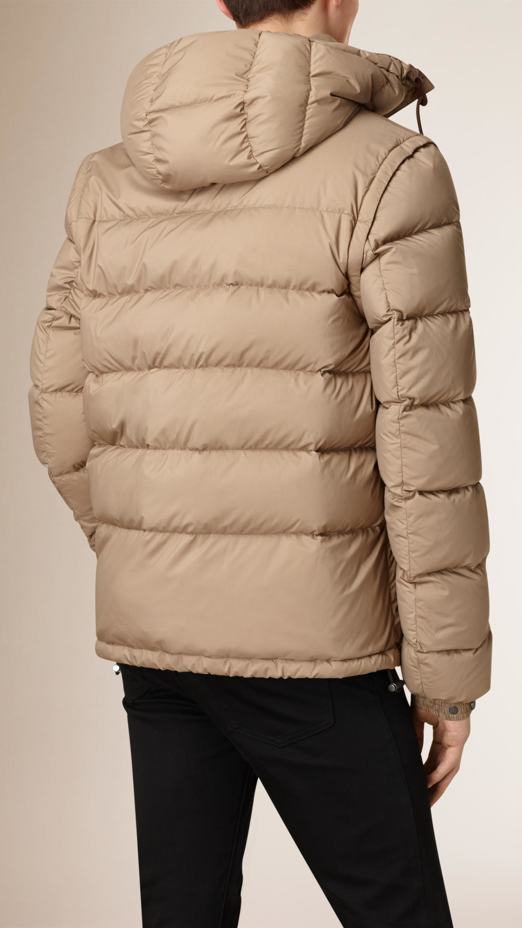 Lyst Burberry Puffer Jacket With Removable Sleeves Taupe
