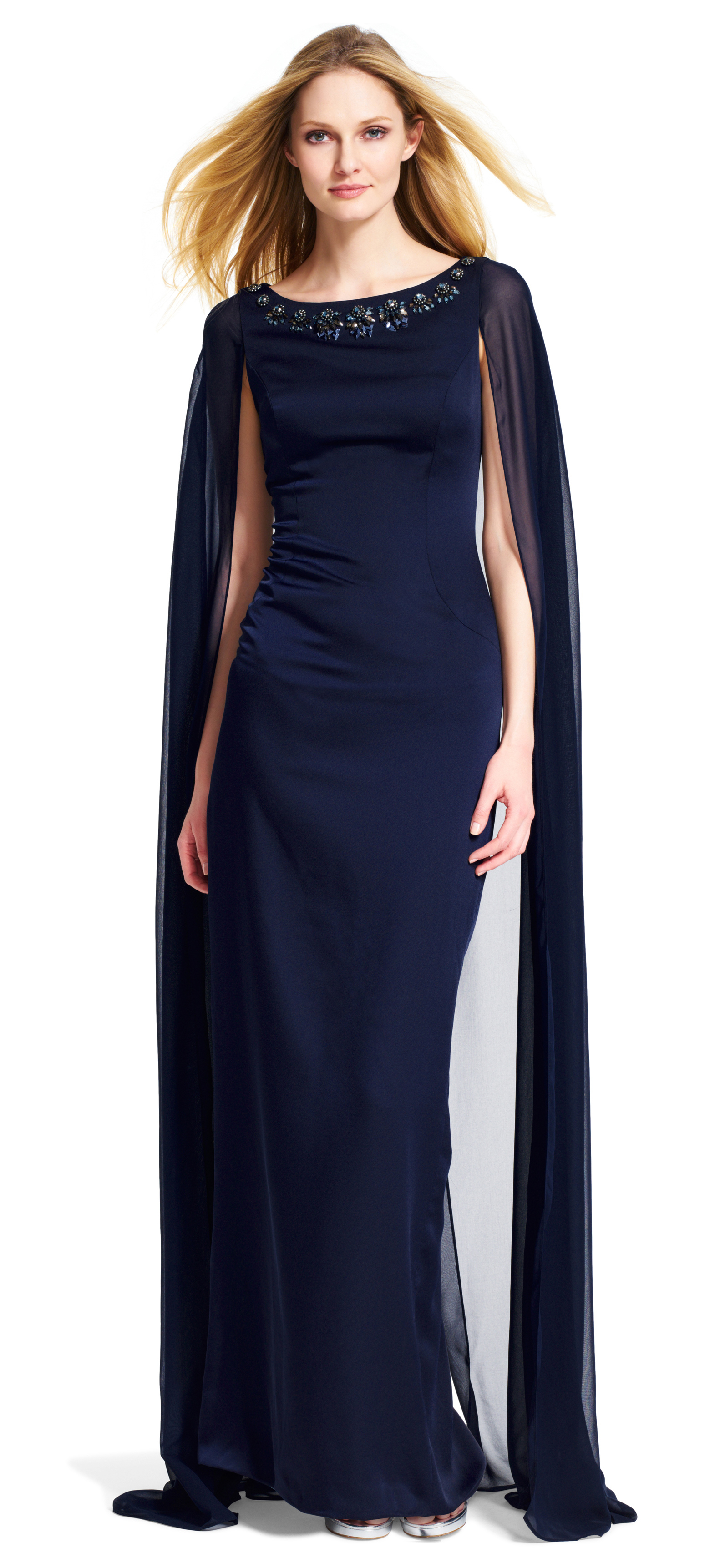 Adrianna Papell Crepe And Chiffon Cape Dress In Blue Lyst