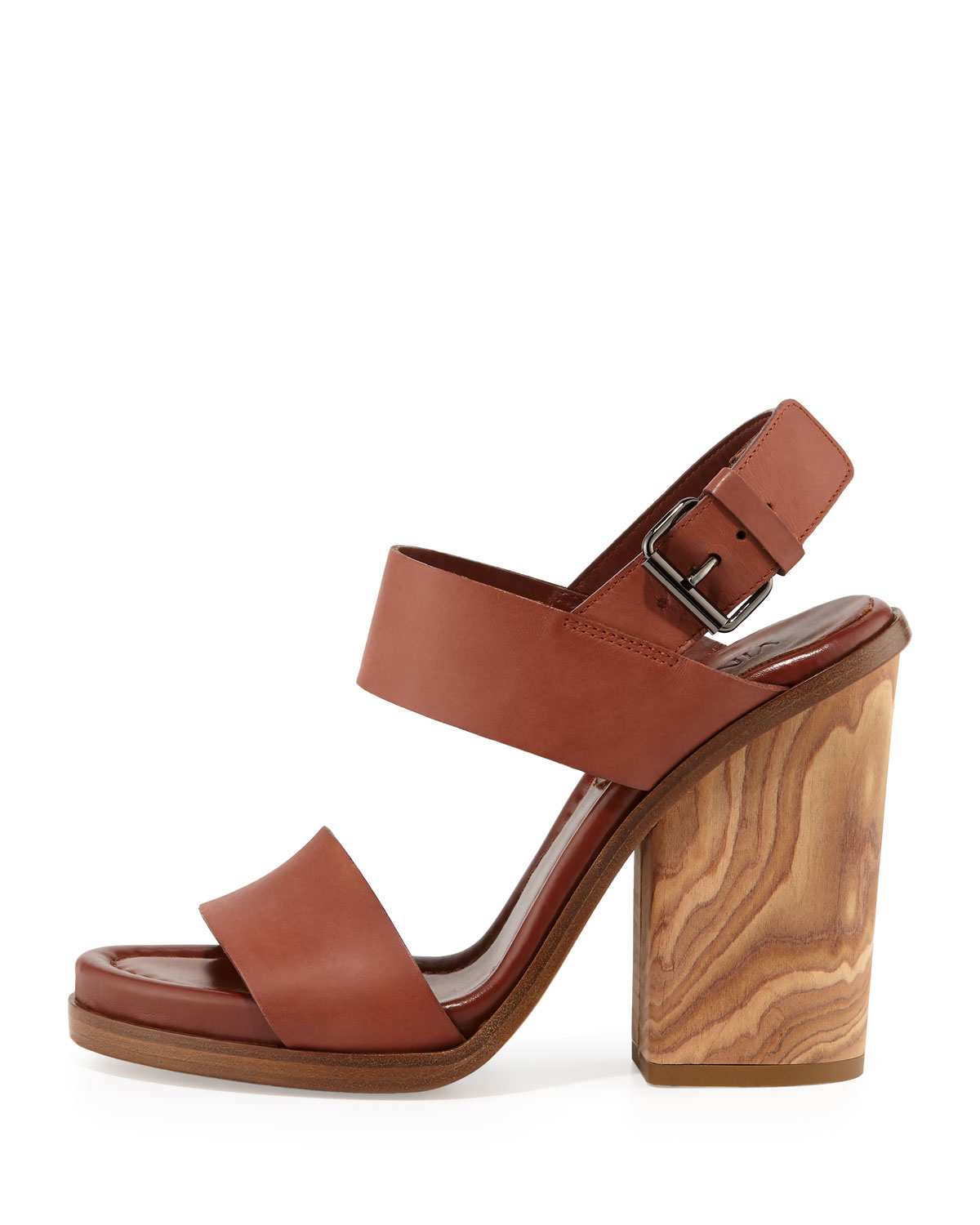 9f028f2128c39 Vince Brown Haley Leather and Wood Sandals