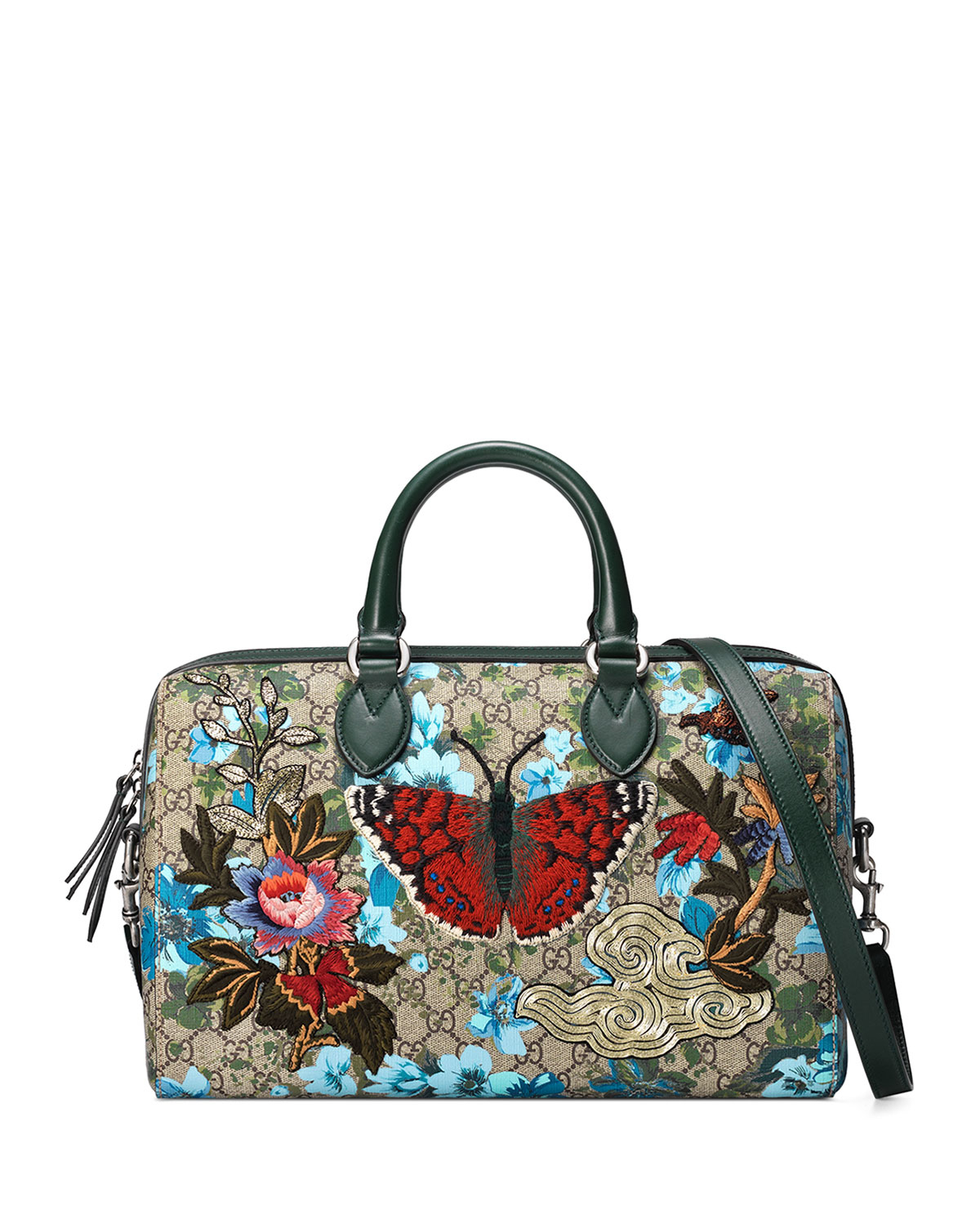 Gucci linea a butterfly embroidered boston bag lyst