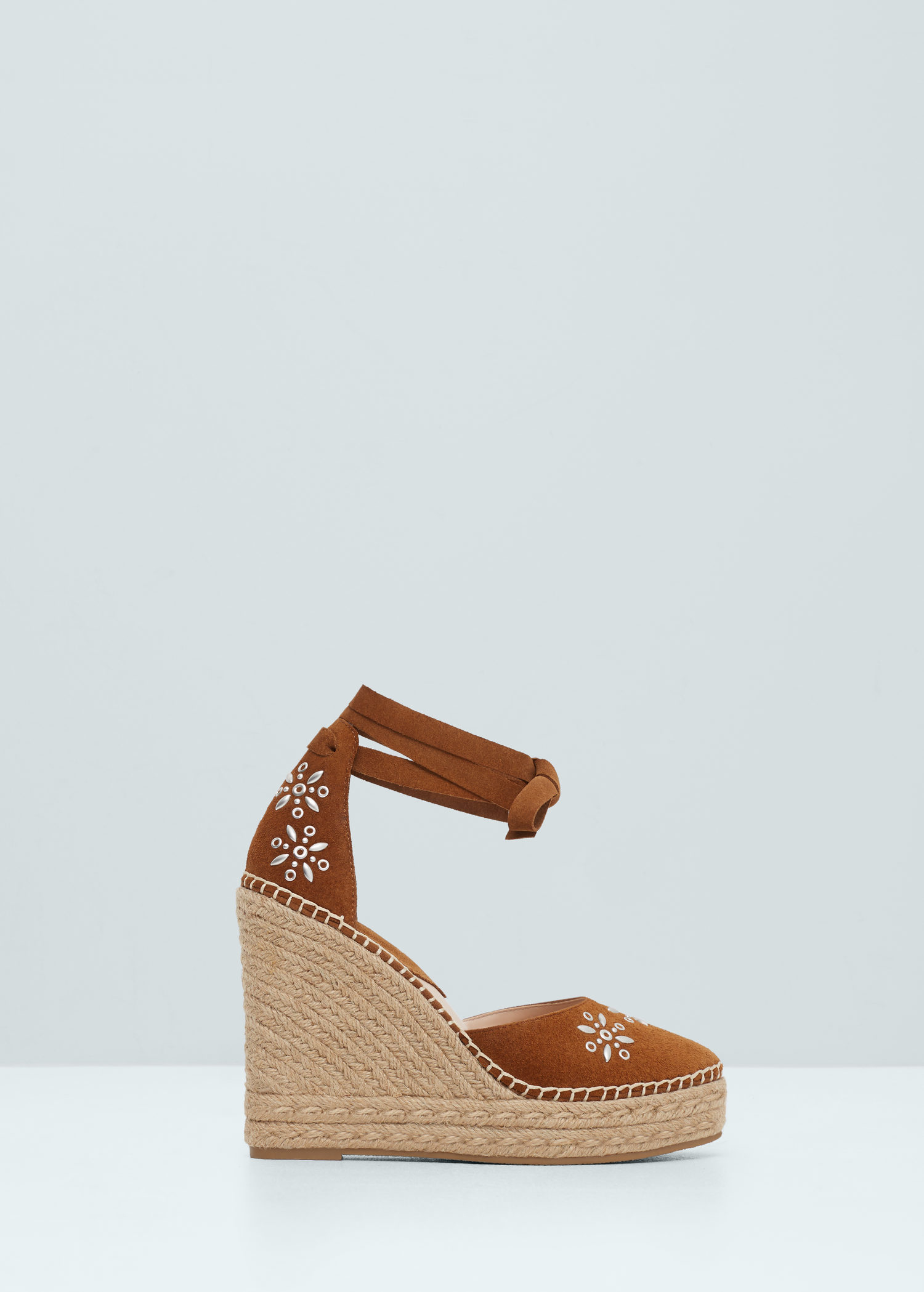 MANGO Strappy espadrille wedge in