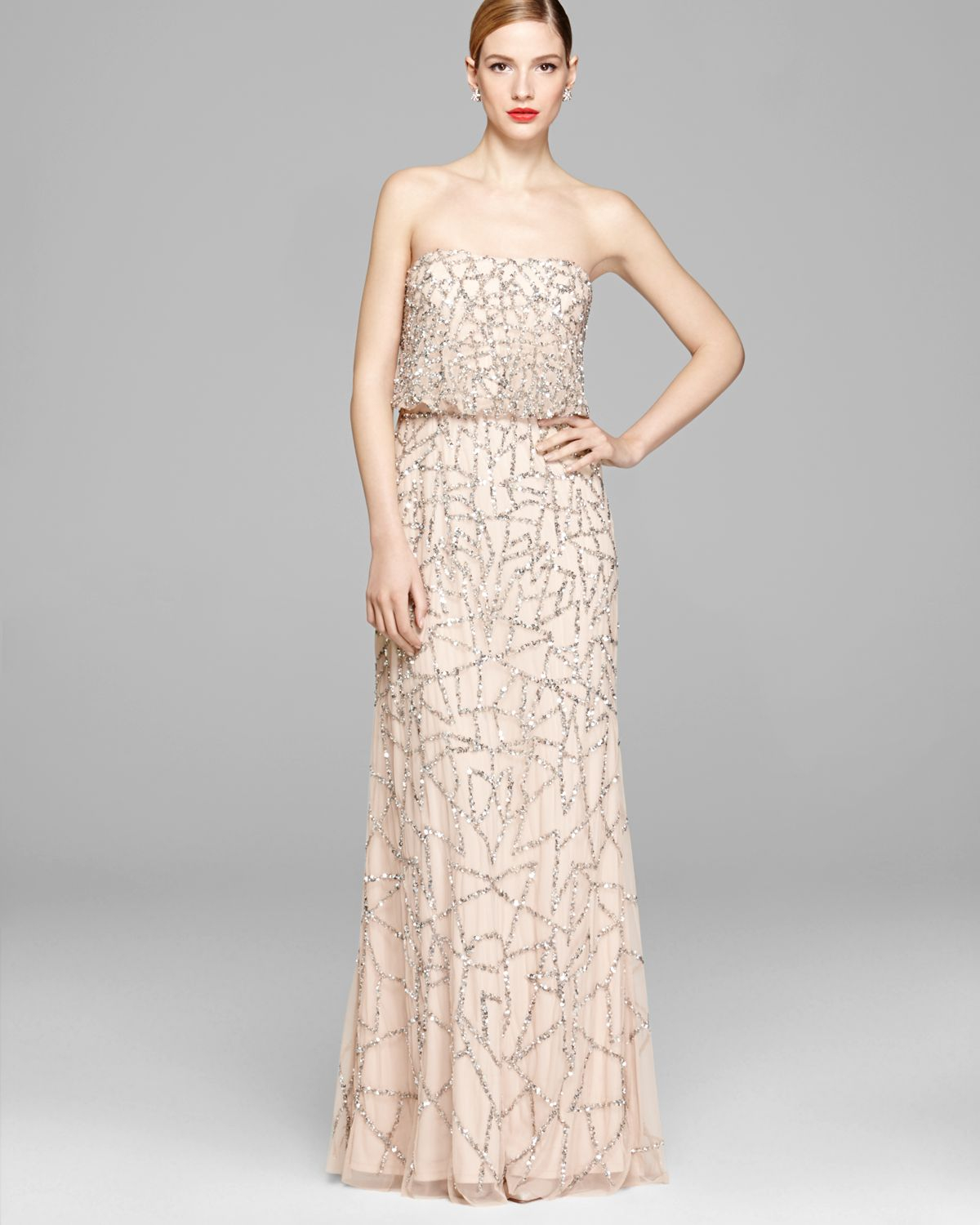 Lyst - Adrianna Papell Strapless Blouson Gown in Pink