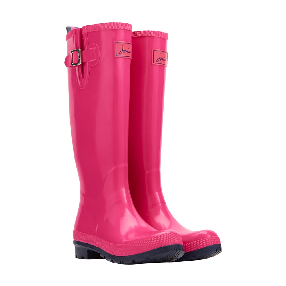 Joules Rubber Gloss Tall Wellington Boots in Pink