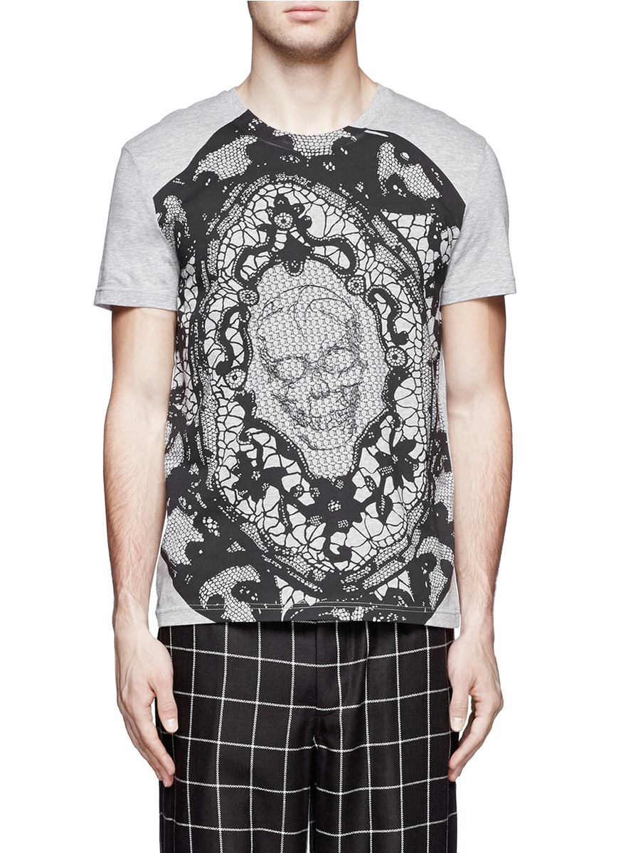 Alexander Mcqueen Lace Skull Cotton Tshirt in Black for ...