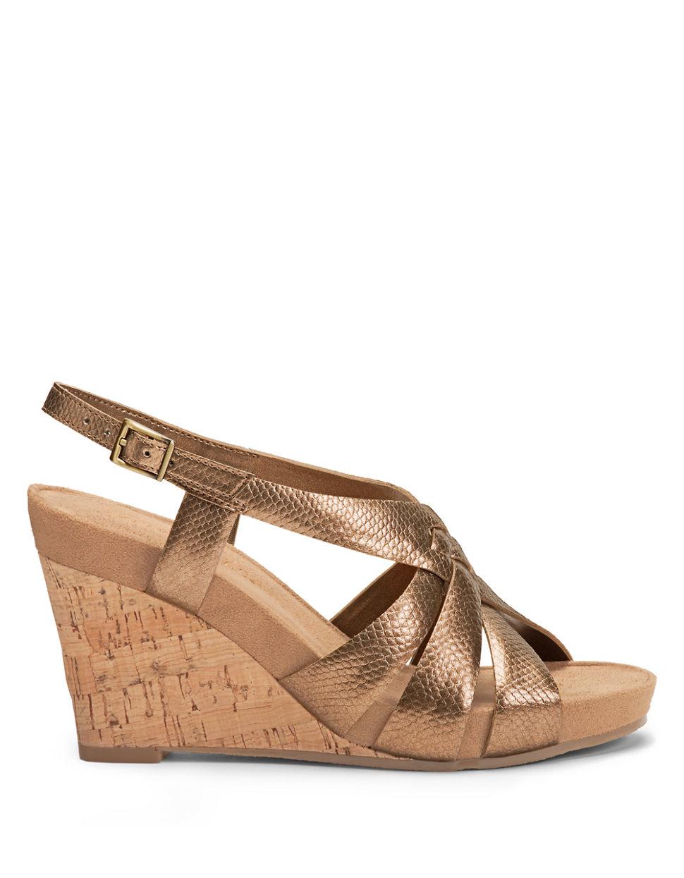 aerosoles guavaplush cork wedge sandals in gold bronze