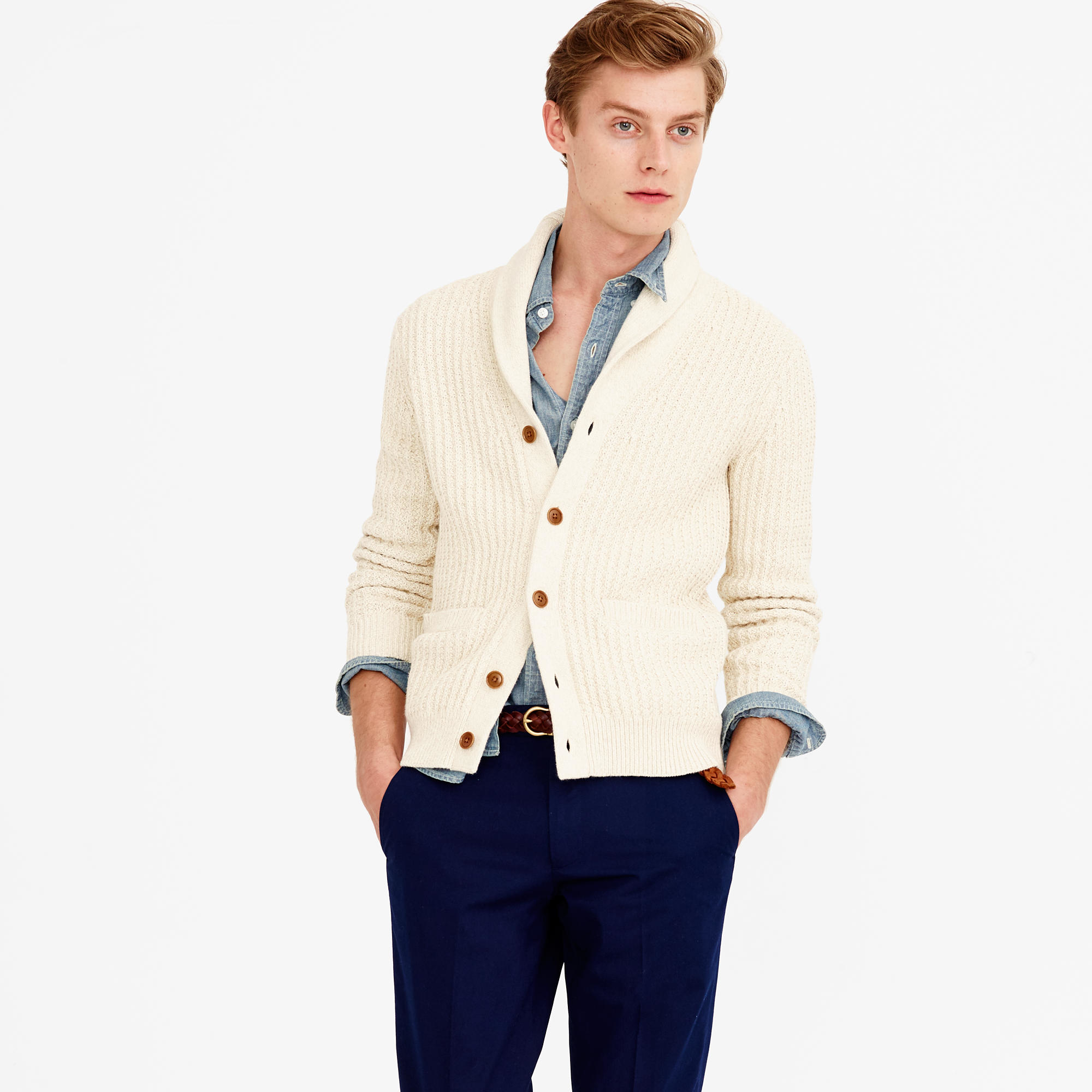 J.crew Cotton Cardigan Sweater in Natural for Men | Lyst