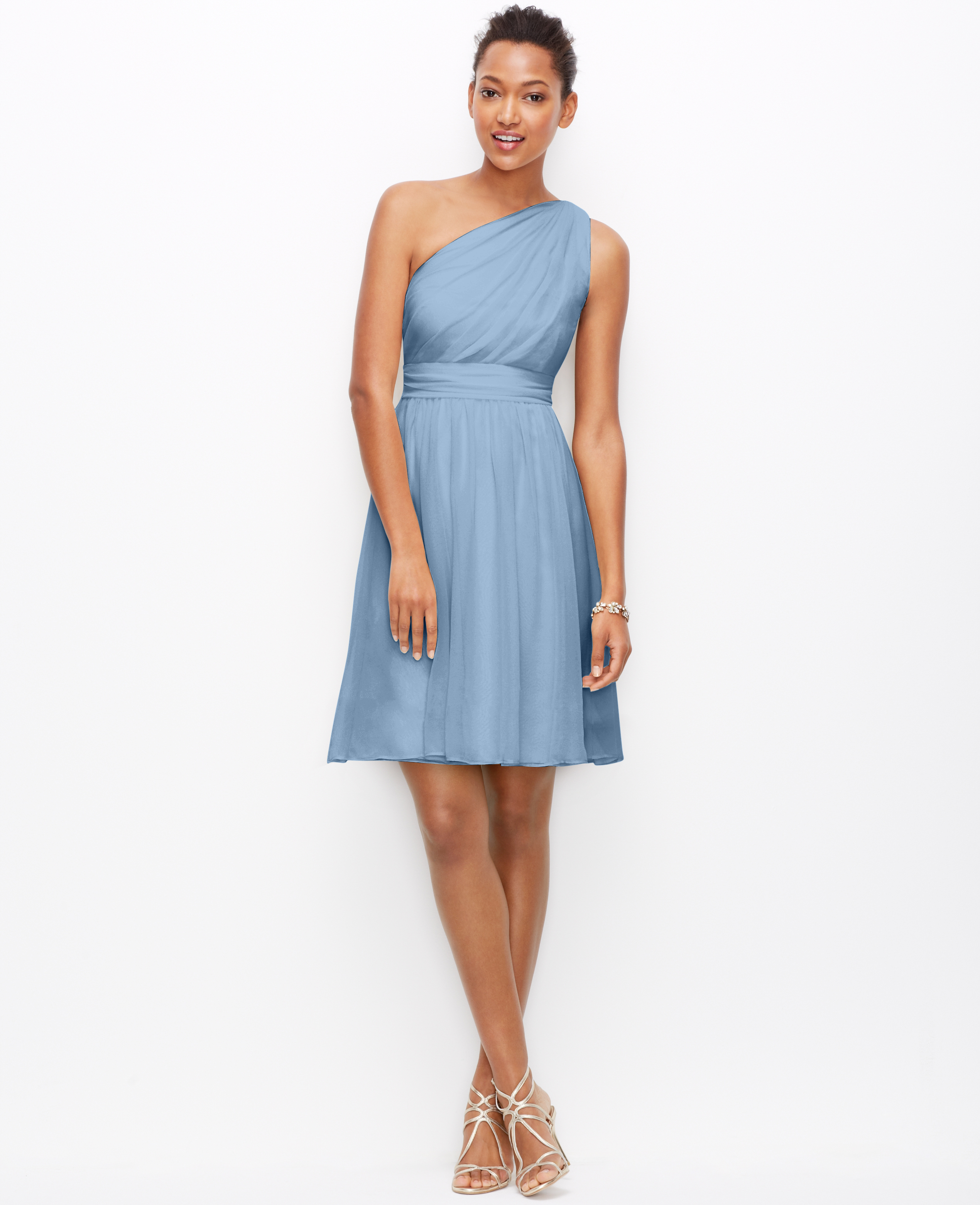 Lyst - Ann Taylor Silk Georgette One Shoulder Dress in Blue