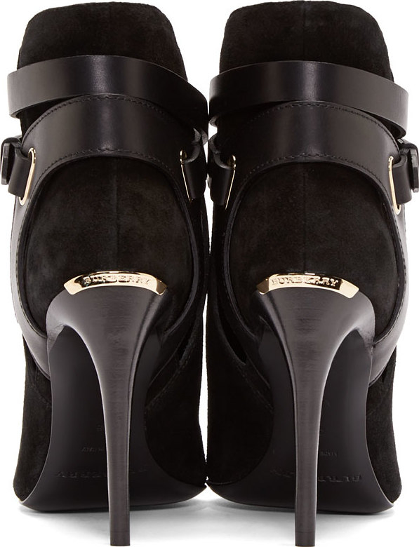70a91d1703d Lyst - Burberry Black Suede Finford Ankle Boots in Black
