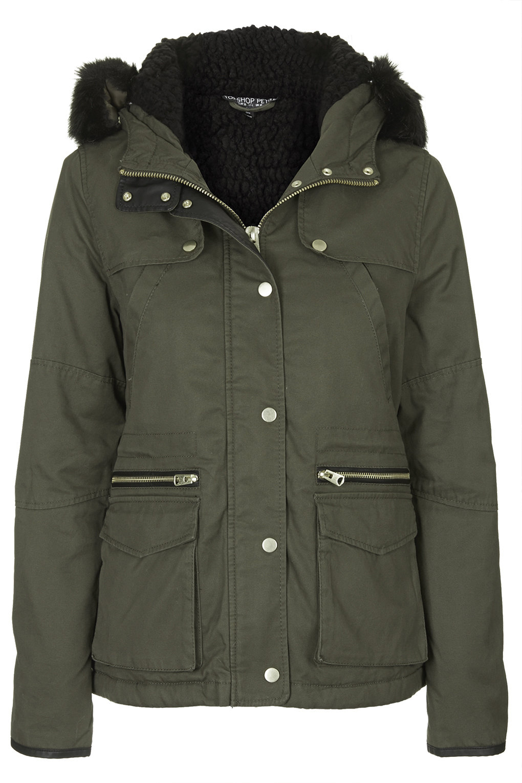 Topshop Petite Short Padded Parka Jacket In Khaki Lyst