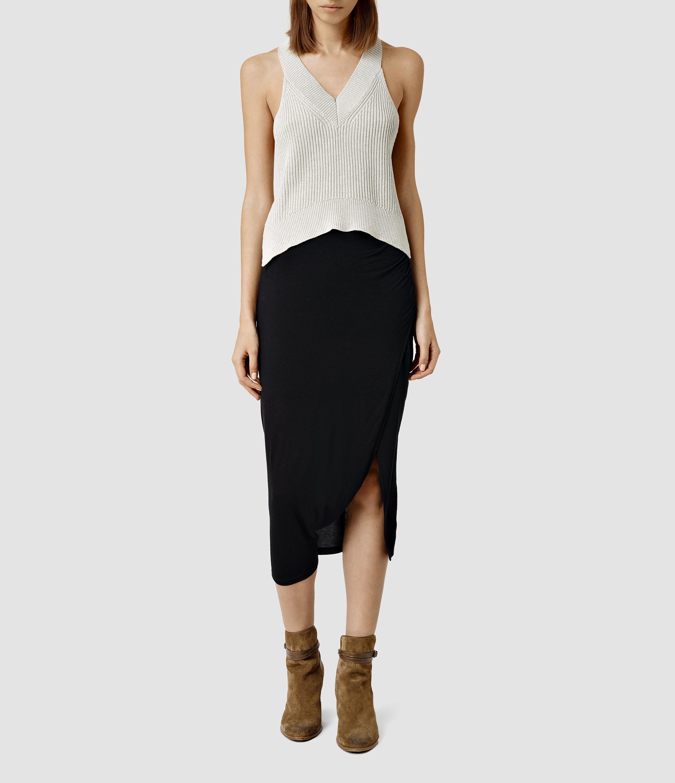 Lyst - AllSaints Solar Skirt in Black e8a1a9164