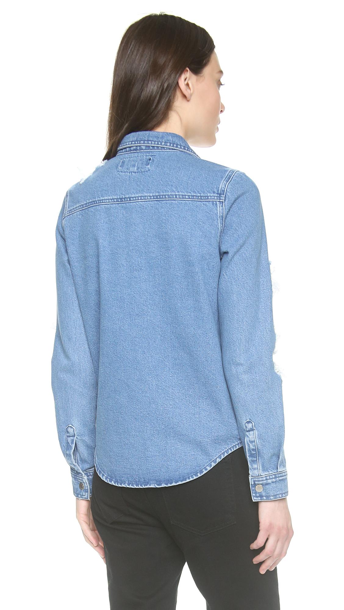 House Of Holland Tartan Denim Shirt Blue In Blue Lyst