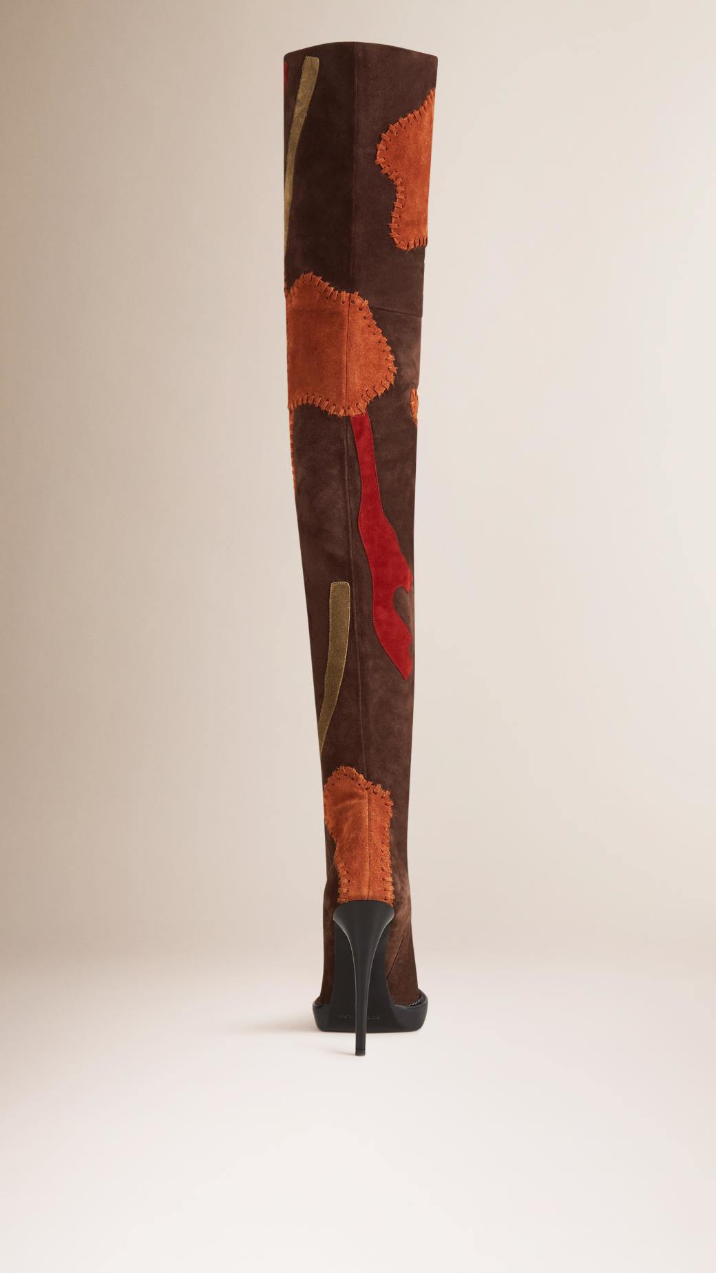 50930f5f69c Burberry Multicolor Patchwork Suede Over-The-Knee Boots