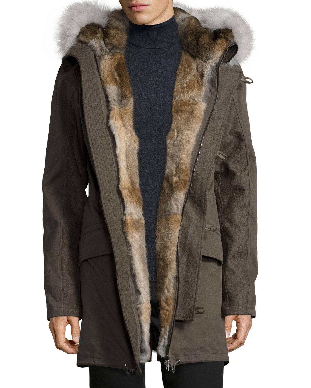 Yves salomon Fur-lined Hooded Fishtail Parka in Green for Men | Lyst